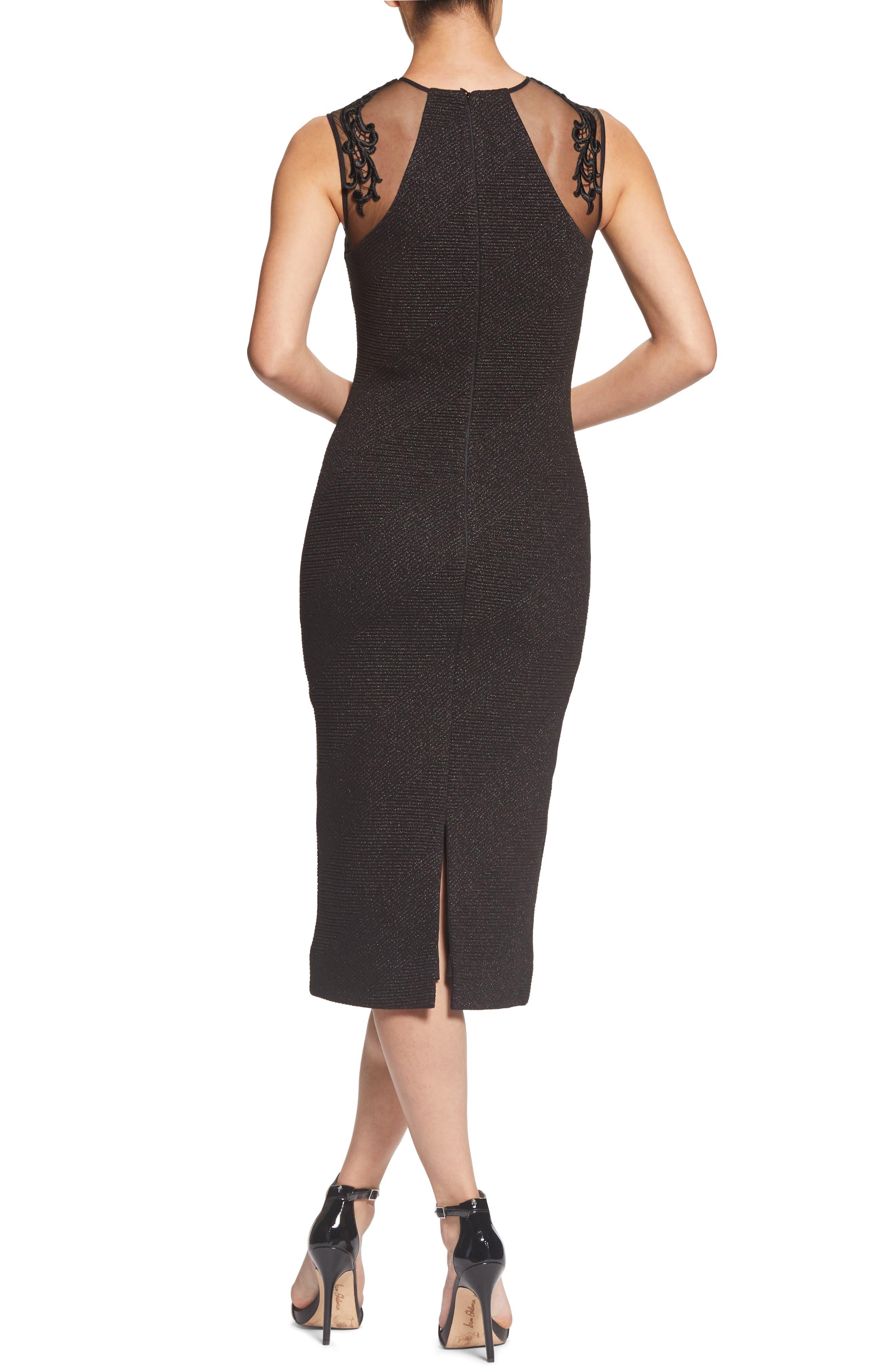 Skylar Embellished Sheath Dress,                             Alternate thumbnail 2, color,                             BLACK