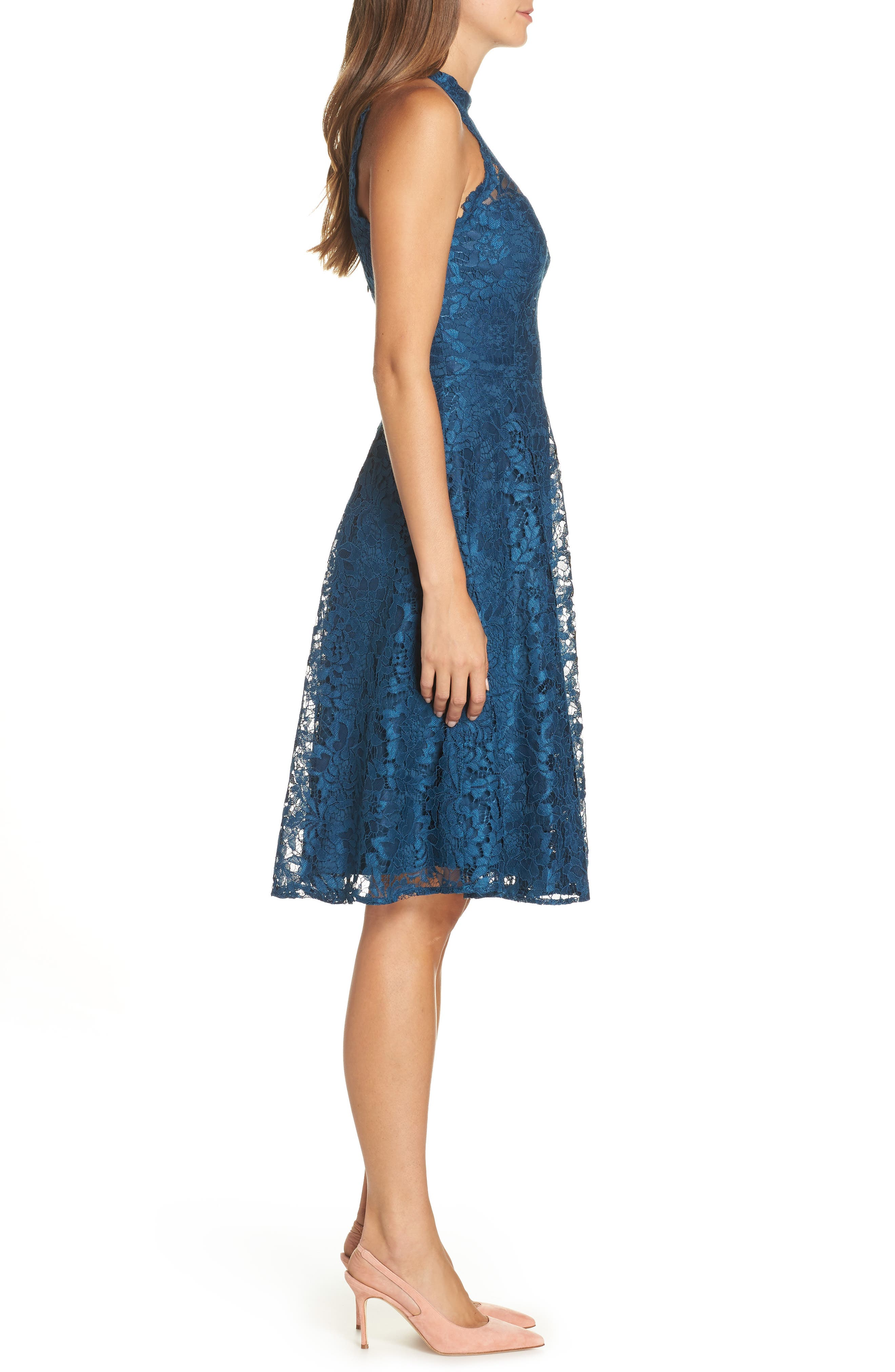 Halter Neck Lace Fit and Flare Dress,                             Alternate thumbnail 3, color,                             TEAL