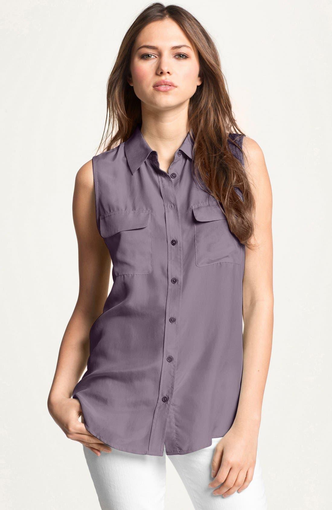 'Slim Signature' Sleeveless Silk Shirt,                             Main thumbnail 7, color,