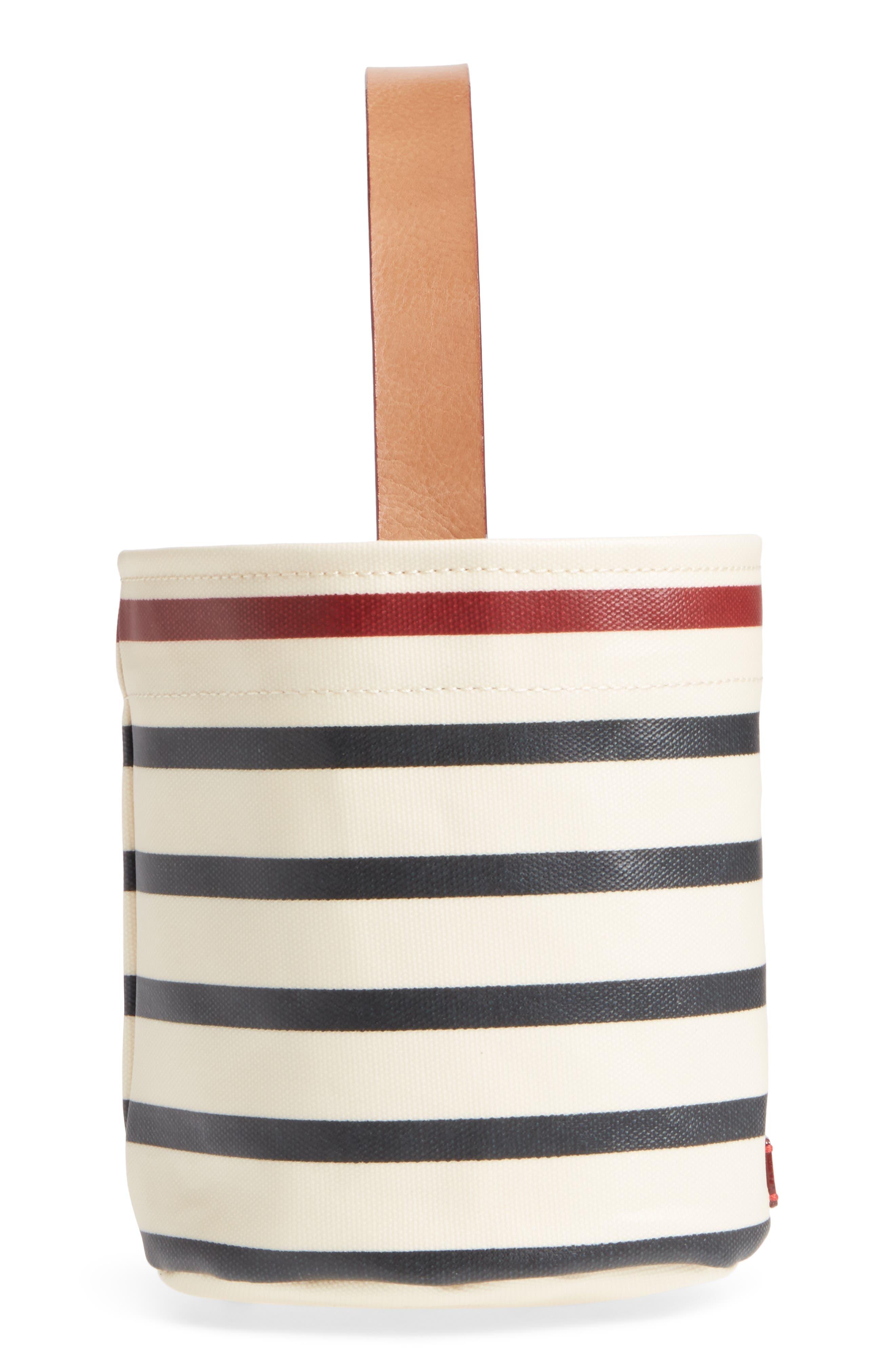 Small Stripe Canvas Bucket Bag,                             Alternate thumbnail 5, color,                             100