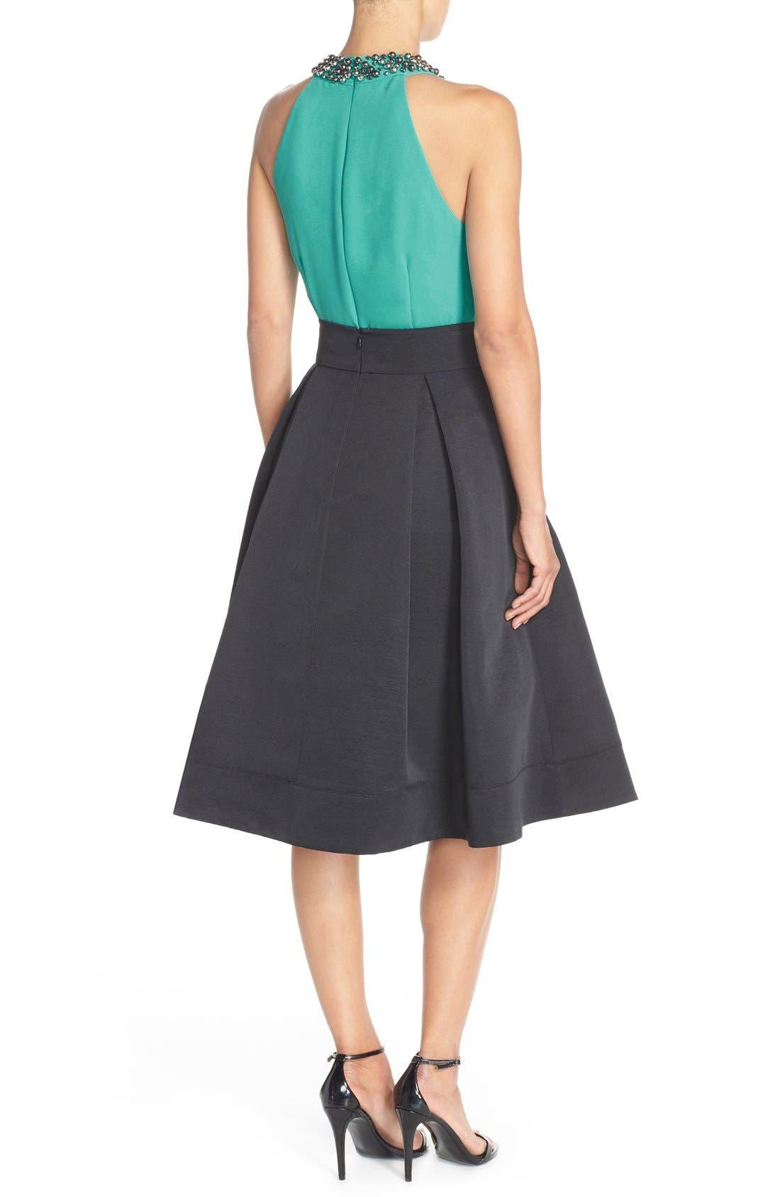 ELIZA J,                             Faille Midi Skirt,                             Alternate thumbnail 5, color,                             001