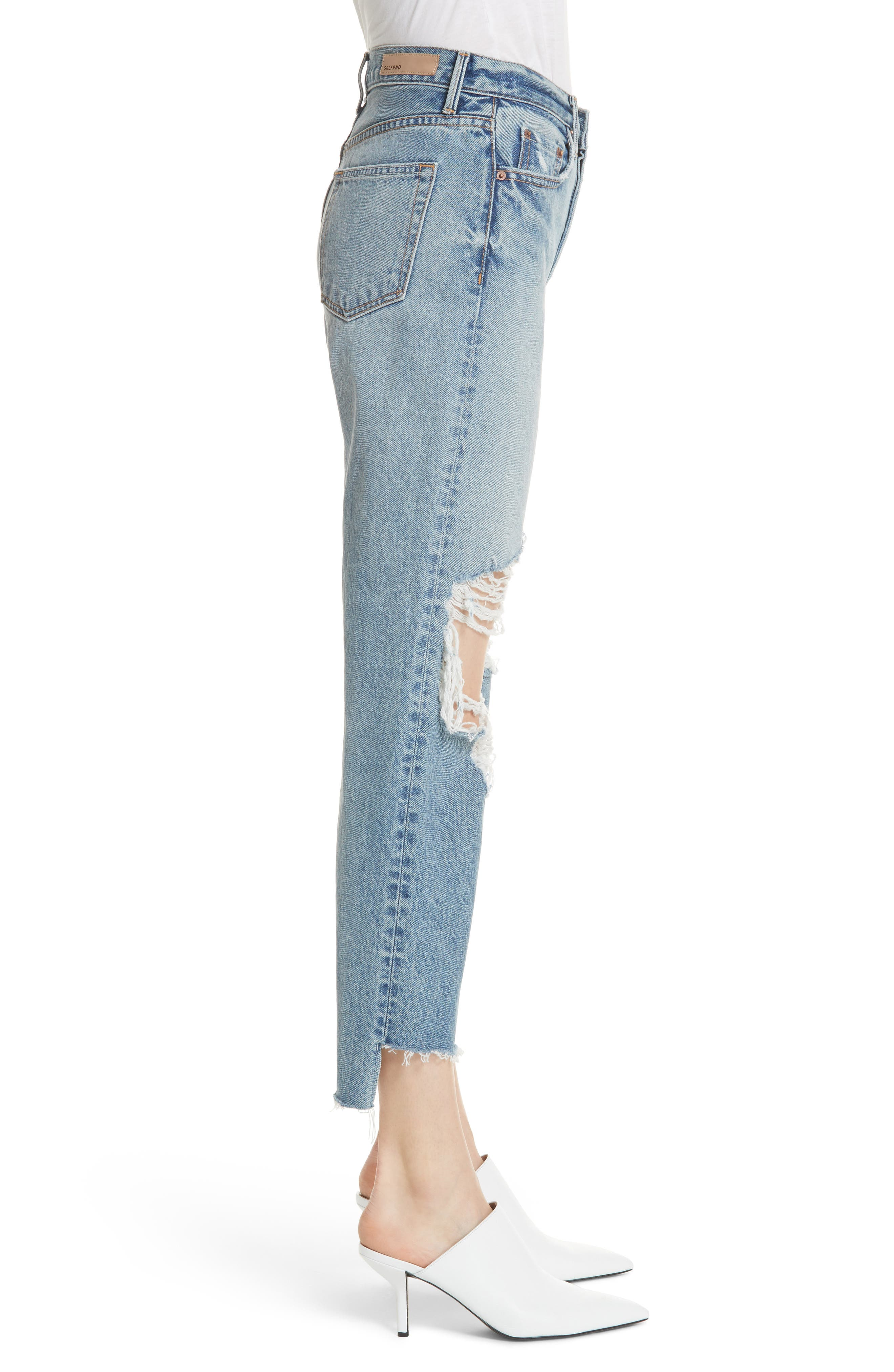 Helena Ripped Rigid High Waist Straight Jeans,                             Alternate thumbnail 3, color,                             487