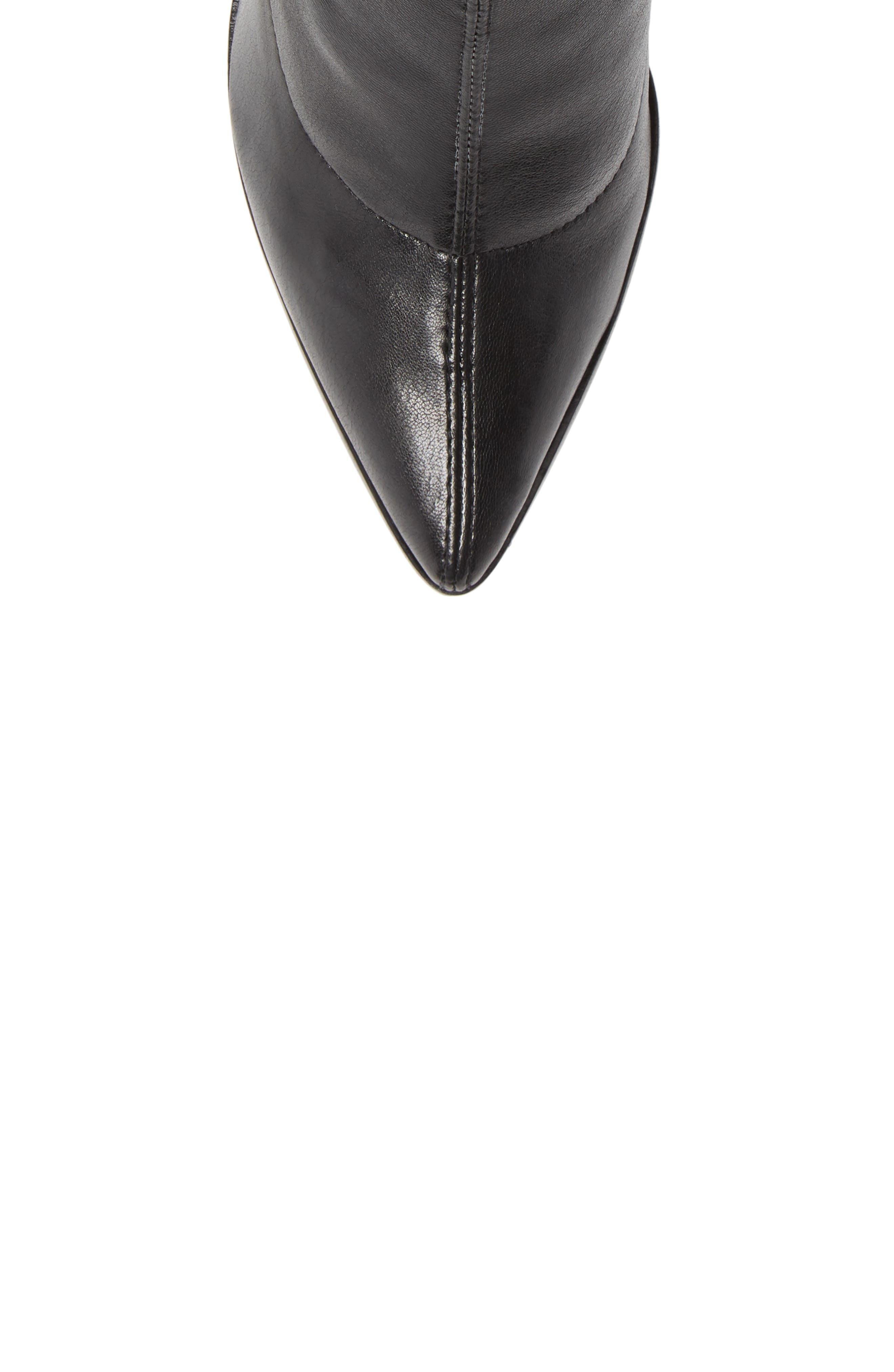 Amellie Pointy Toe Bootie,                             Alternate thumbnail 5, color,                             BLACK LEATHER