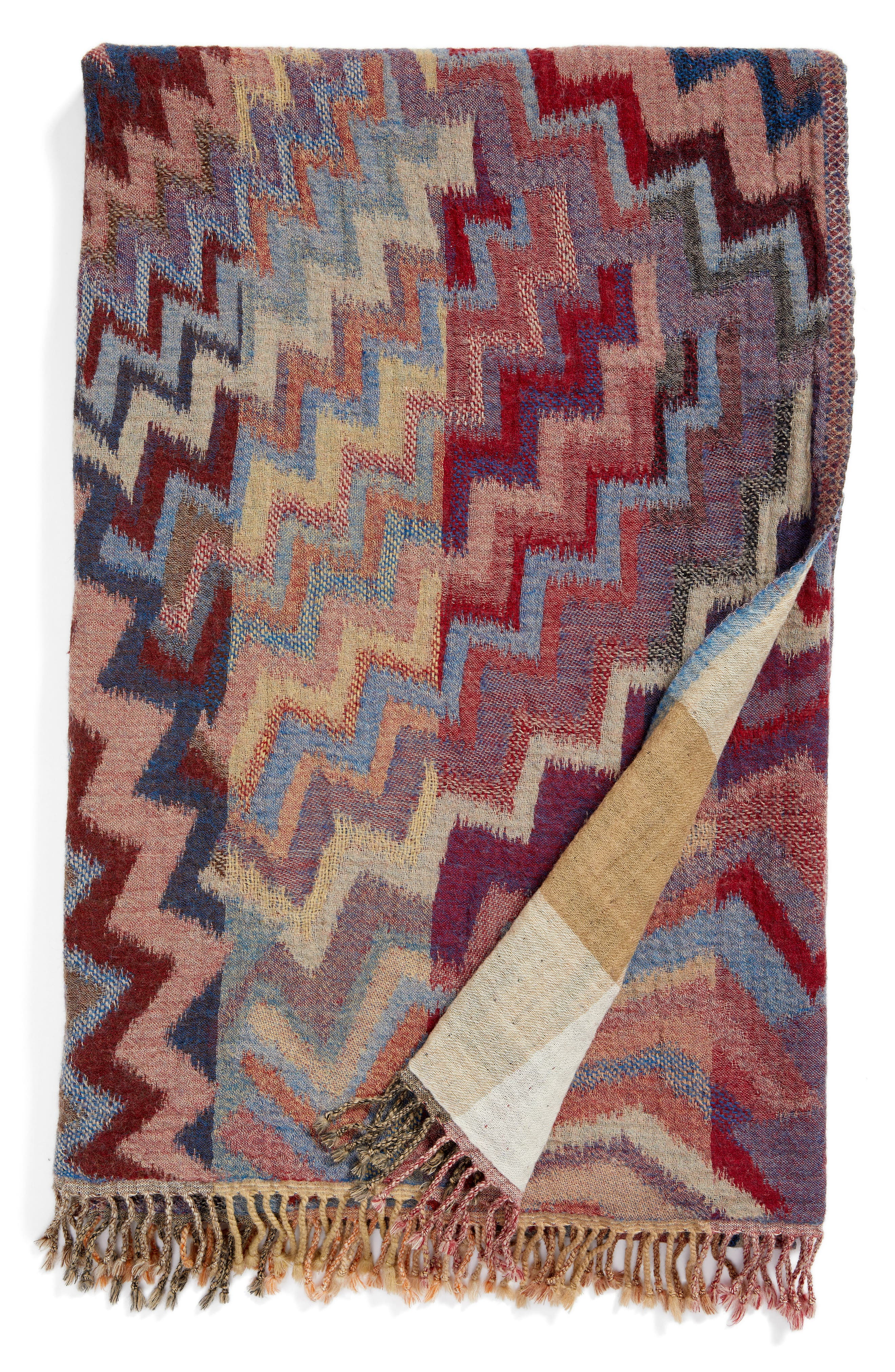 Chevron Double Face Merino Wool Throw,                         Main,                         color, ZIG ZAG