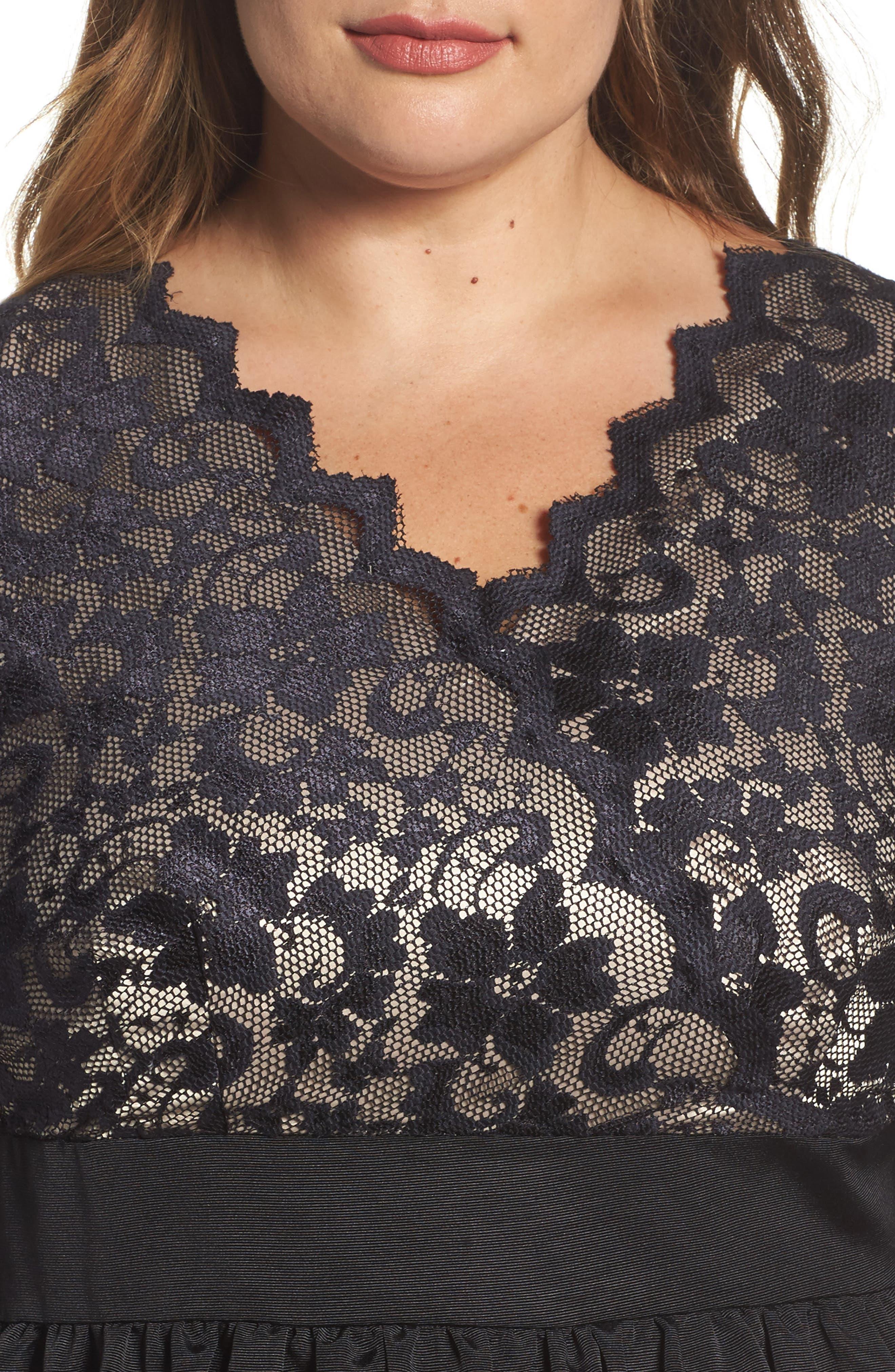 Lace & Faille Dress,                             Alternate thumbnail 9, color,