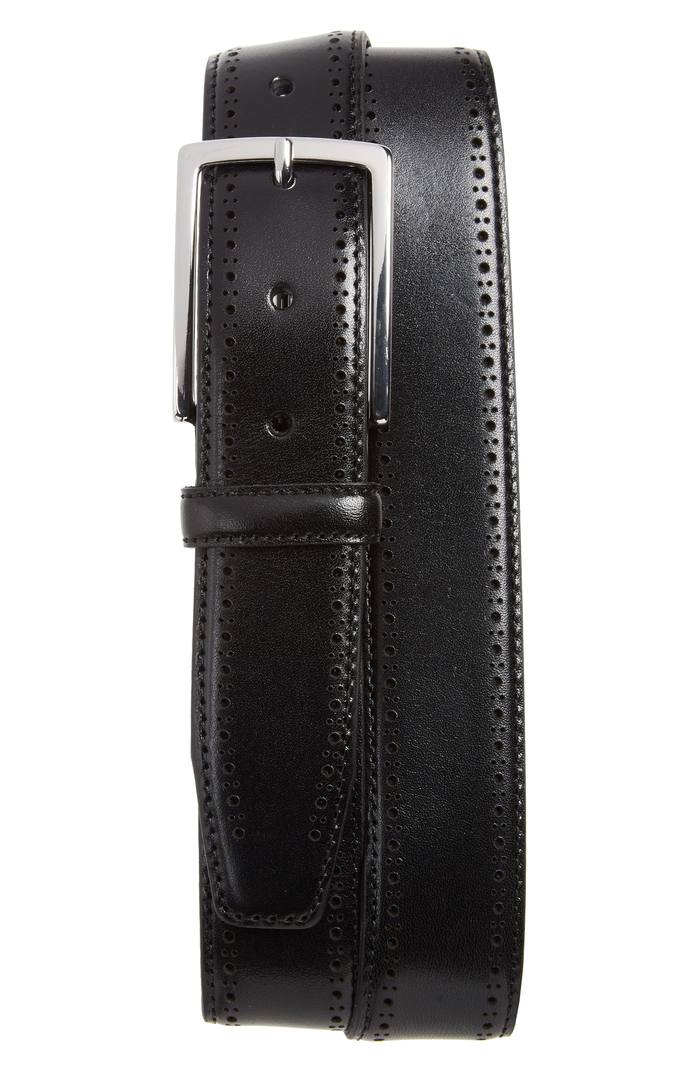 Lowell Leather Belt,                         Main,                         color, BLACK