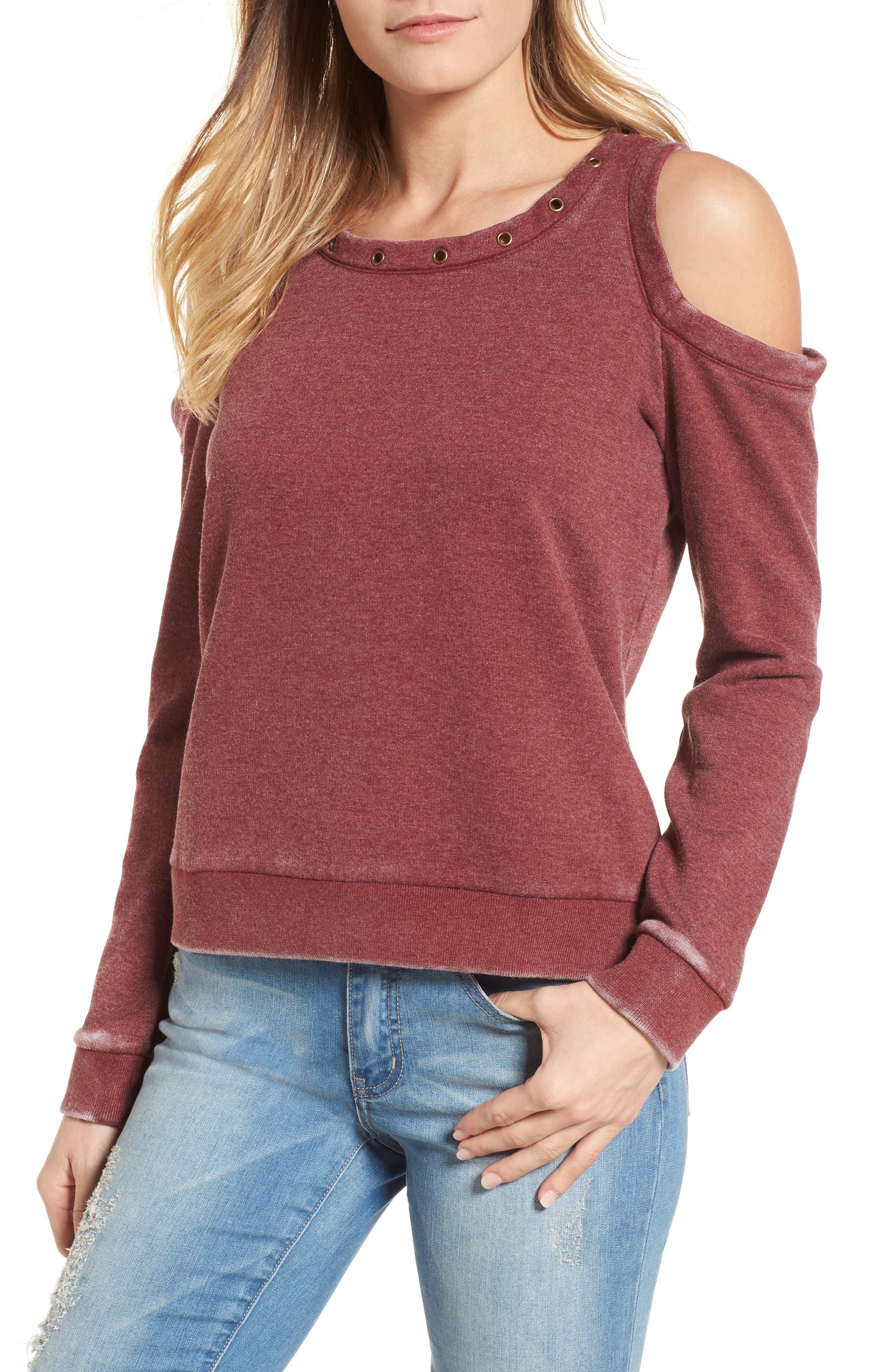 Cold Shoulder Sweatshirt,                         Main,                         color, 937