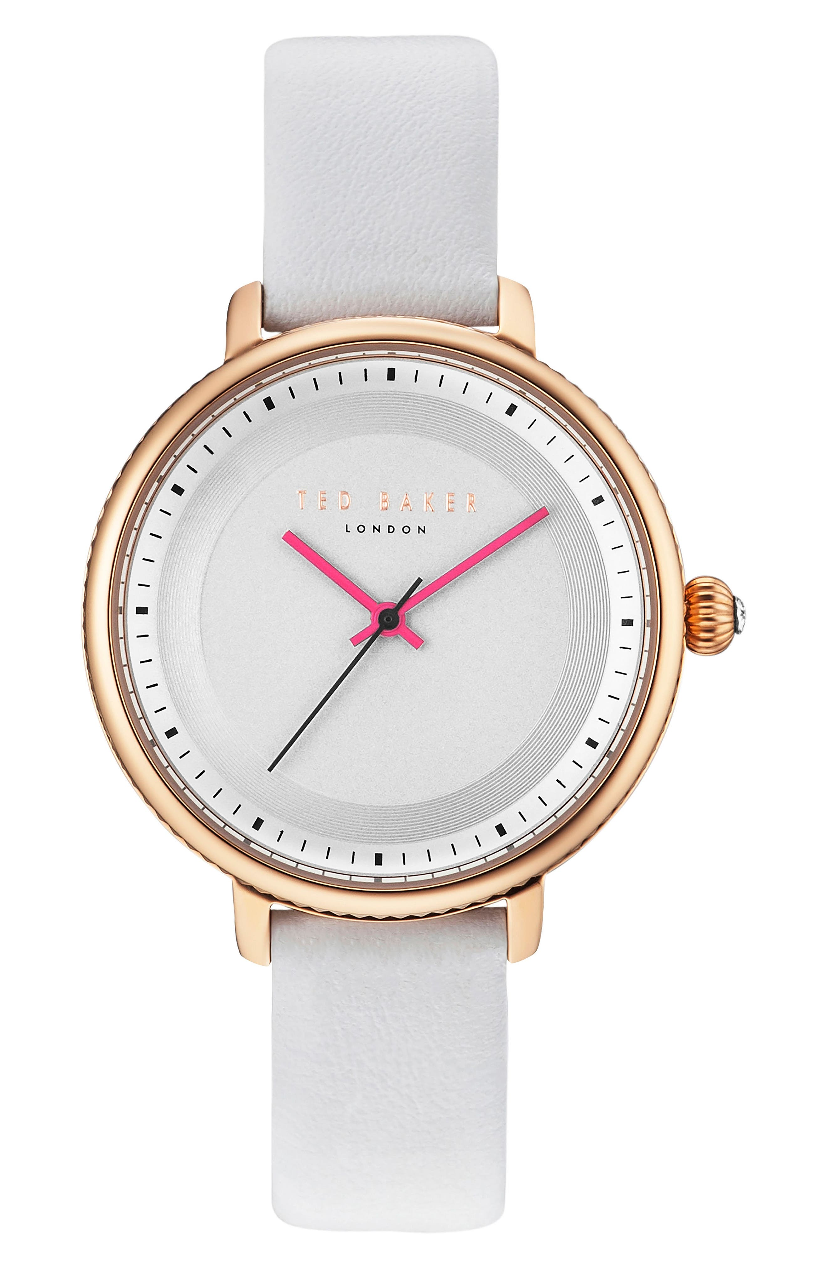 Isla Round Leather Strap Watch, 36mm,                             Main thumbnail 3, color,