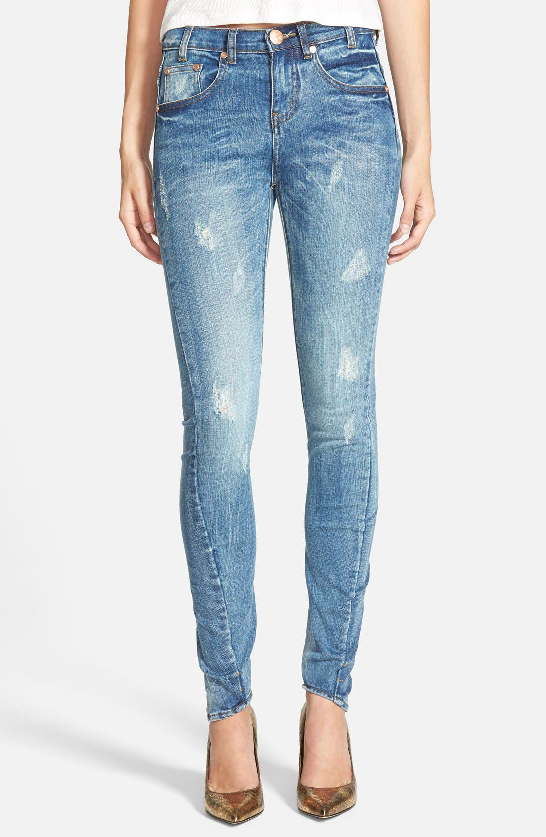 ONE TEASPOON,                             'Hoodlums' Skinny Jeans,                             Main thumbnail 1, color,                             400