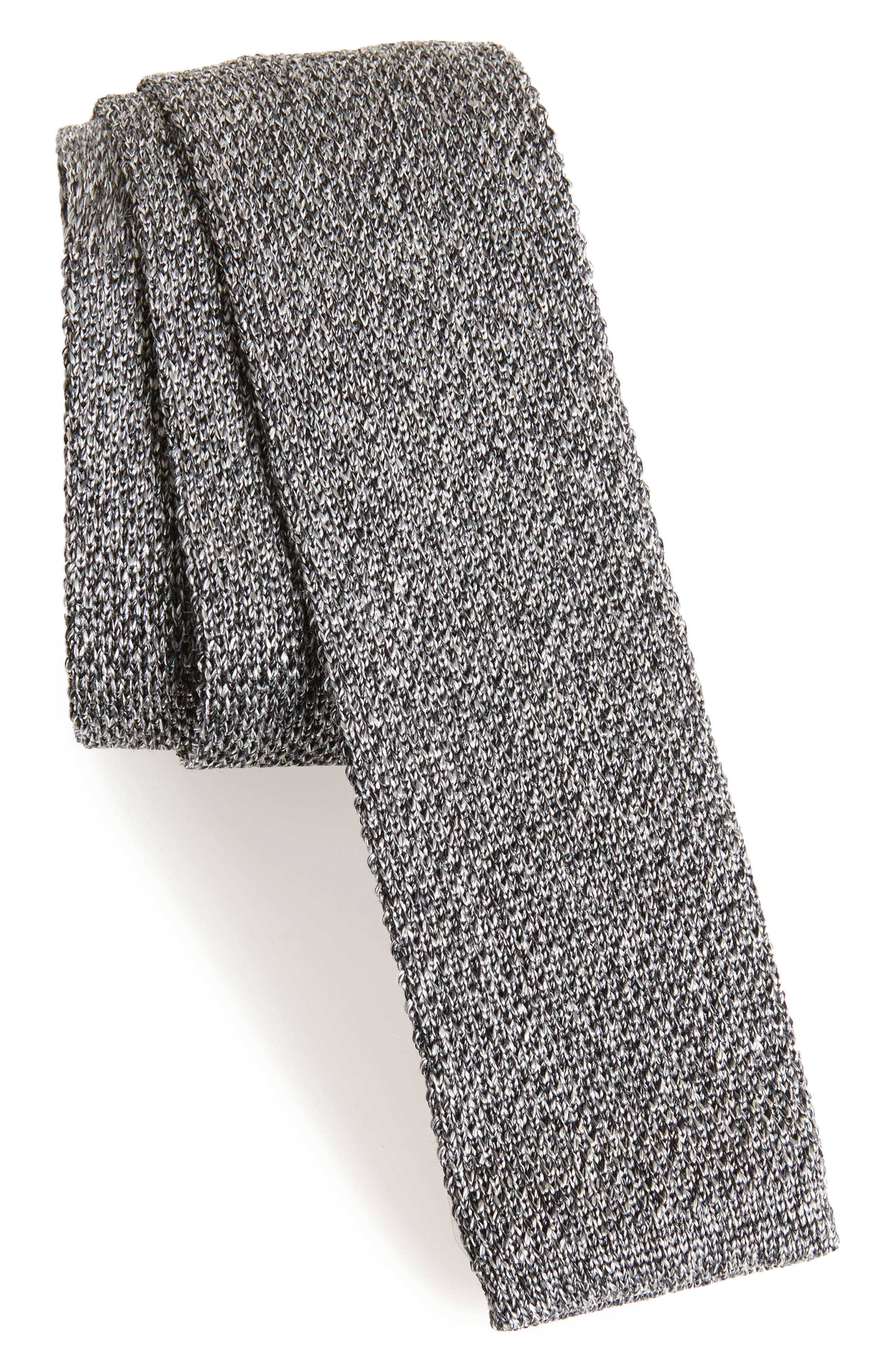 Solid Knit Silk Tie,                             Main thumbnail 1, color,                             DARK GREY