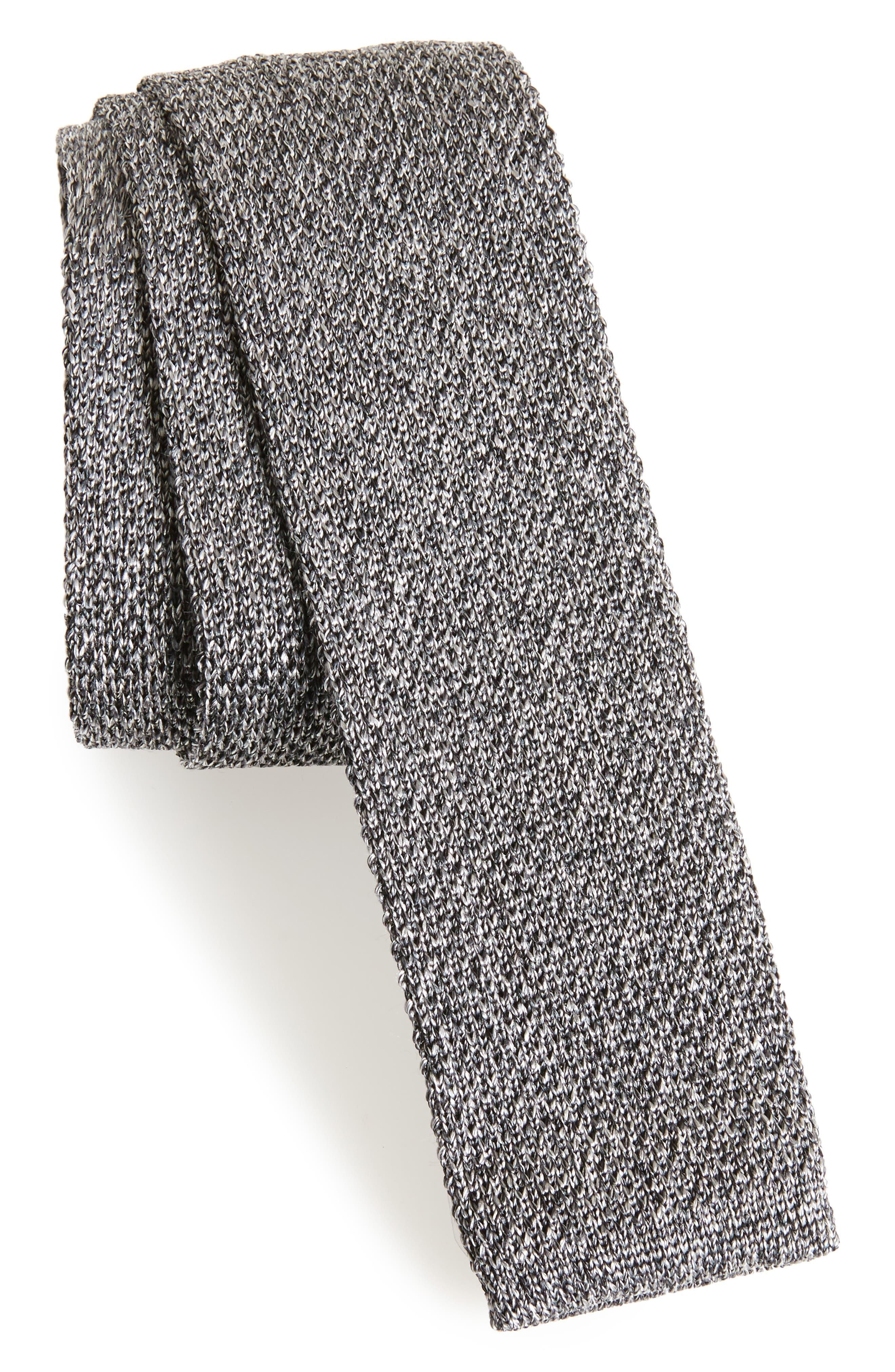 Solid Knit Silk Tie,                         Main,                         color, DARK GREY