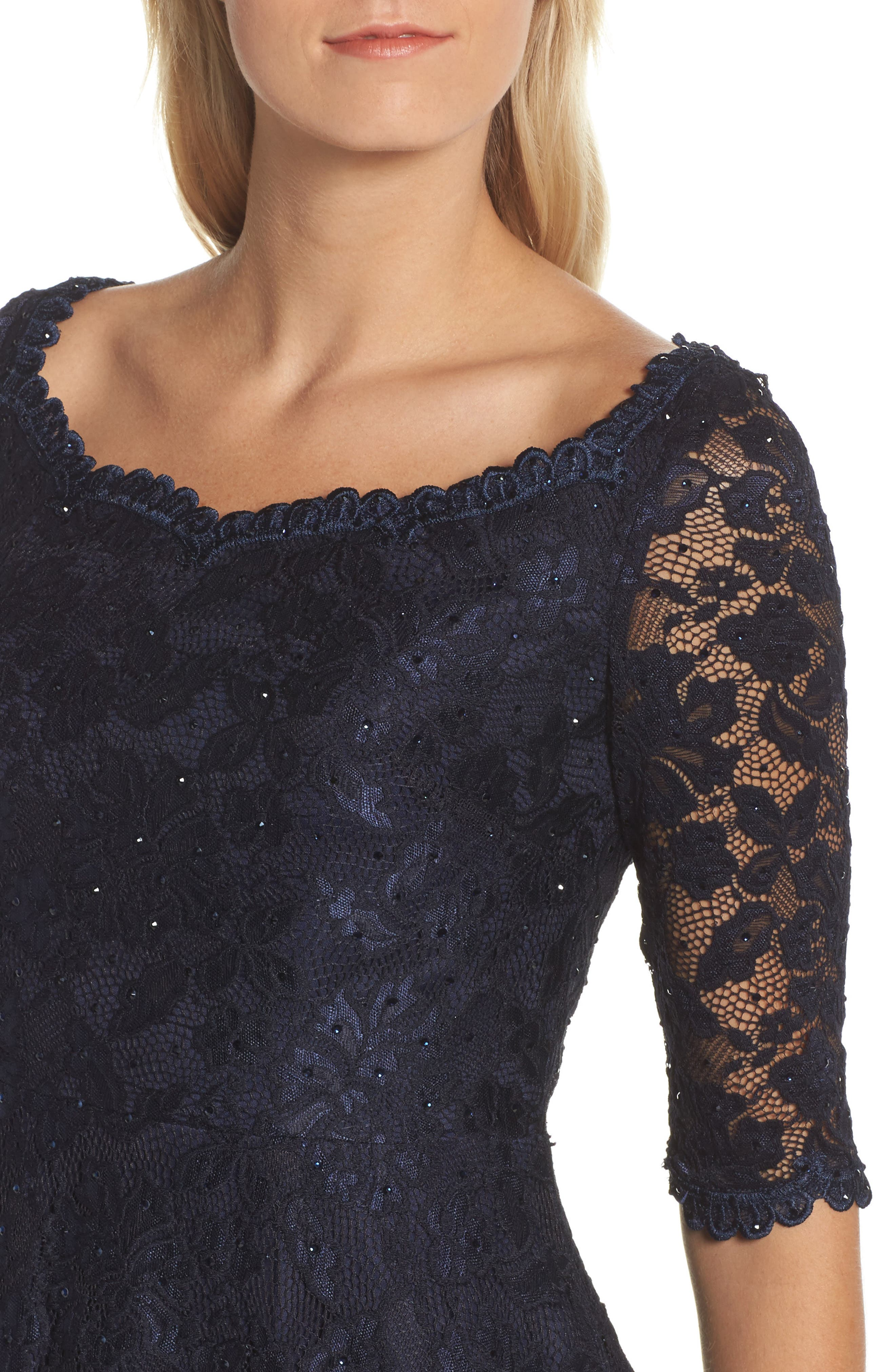 Fit & Flare Lace Dress,                             Alternate thumbnail 4, color,                             NAVY