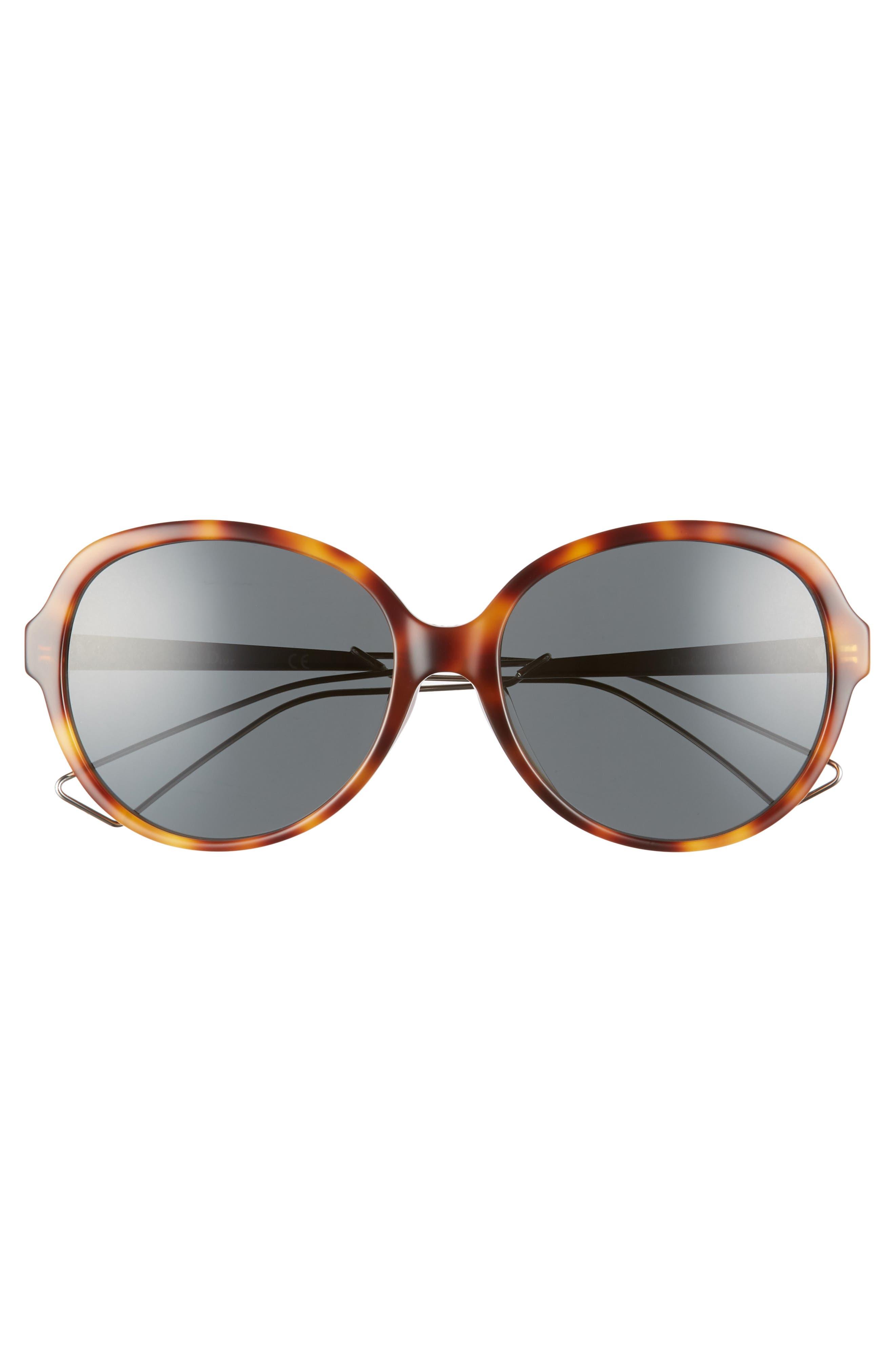 Confident 58mm Round Sunglasses,                             Alternate thumbnail 3, color,                             HAVANA/ PALLADIUM