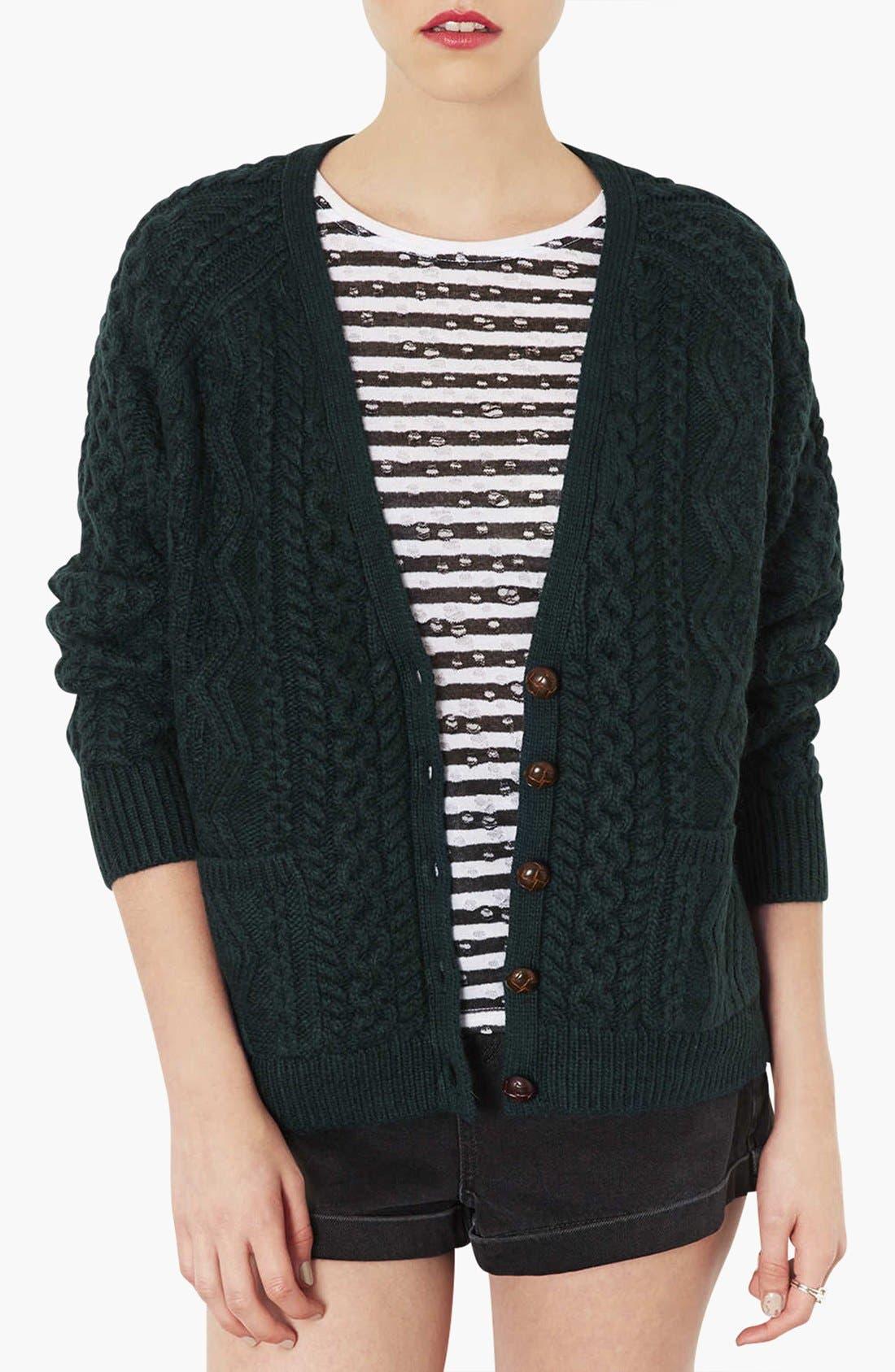 TOPSHOP Cable Knit V-Neck Cardigan, Main, color, 300