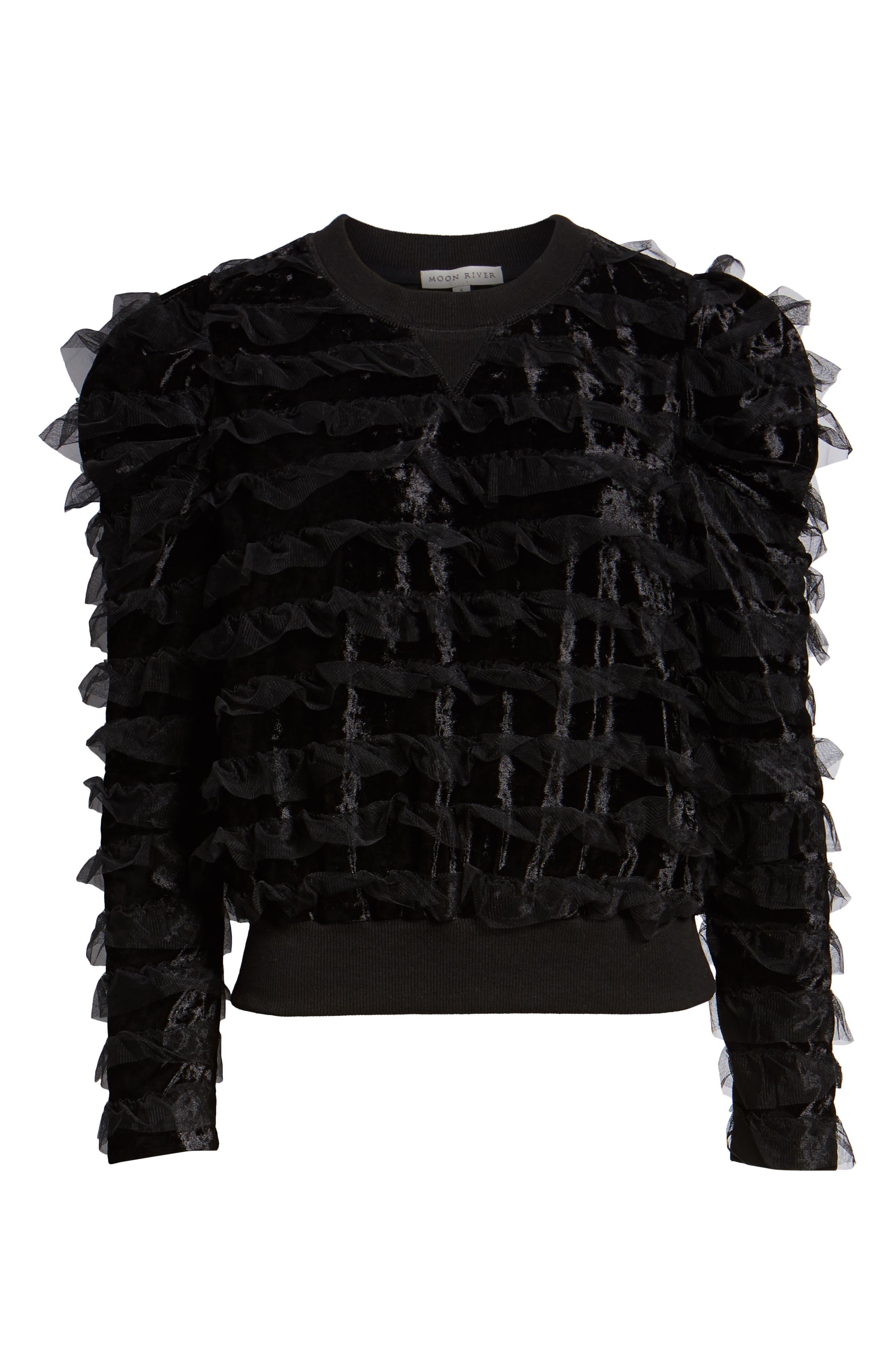 Tulle Ruffle Velour Pullover,                             Alternate thumbnail 6, color,                             BLACK MESH