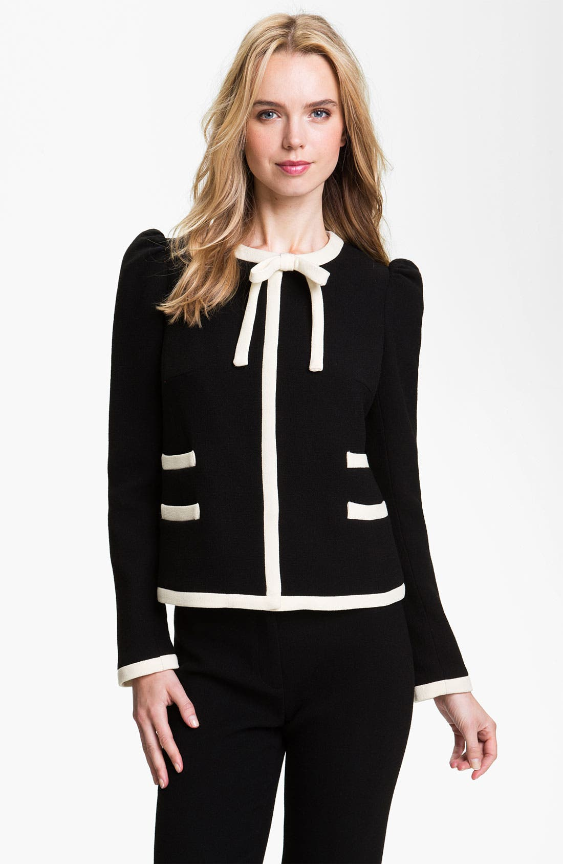 'Marizia' Bow Detail Jacket, Main, color, 001