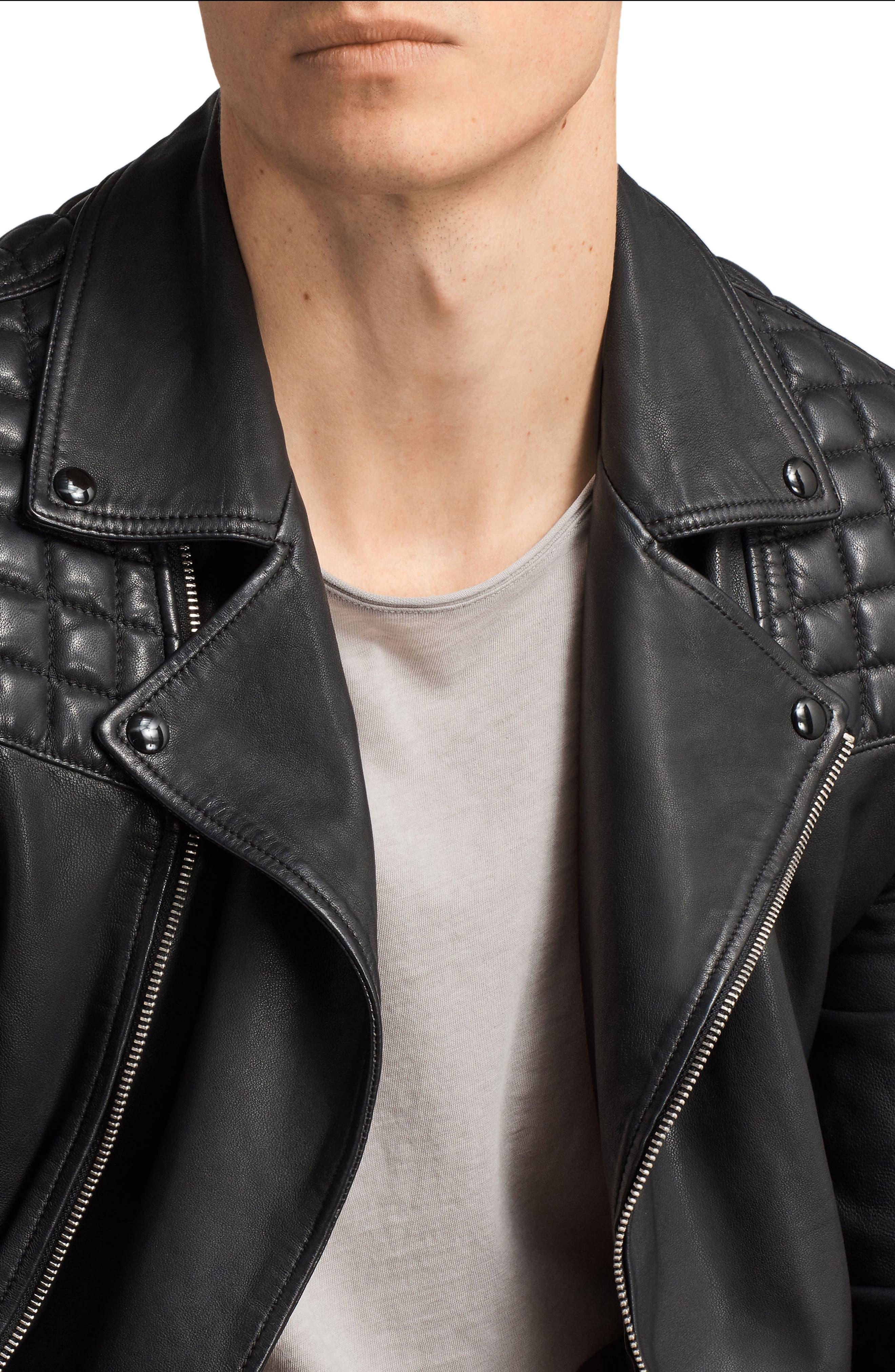 Taro Slim Fit Leather Biker Jacket,                             Alternate thumbnail 3, color,                             001