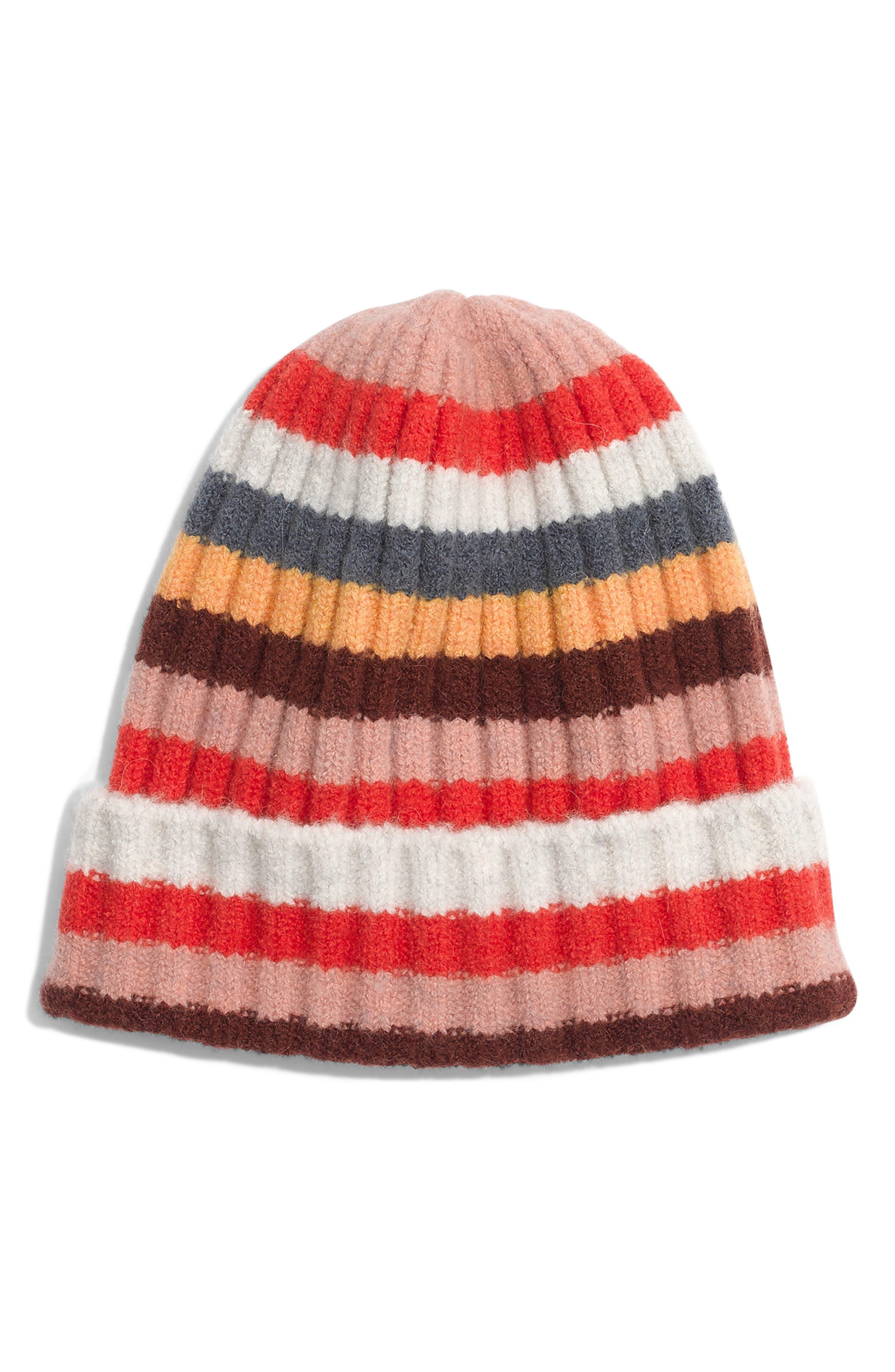 Multi Stripe Beanie, Main, color, SALSA RED MULTI