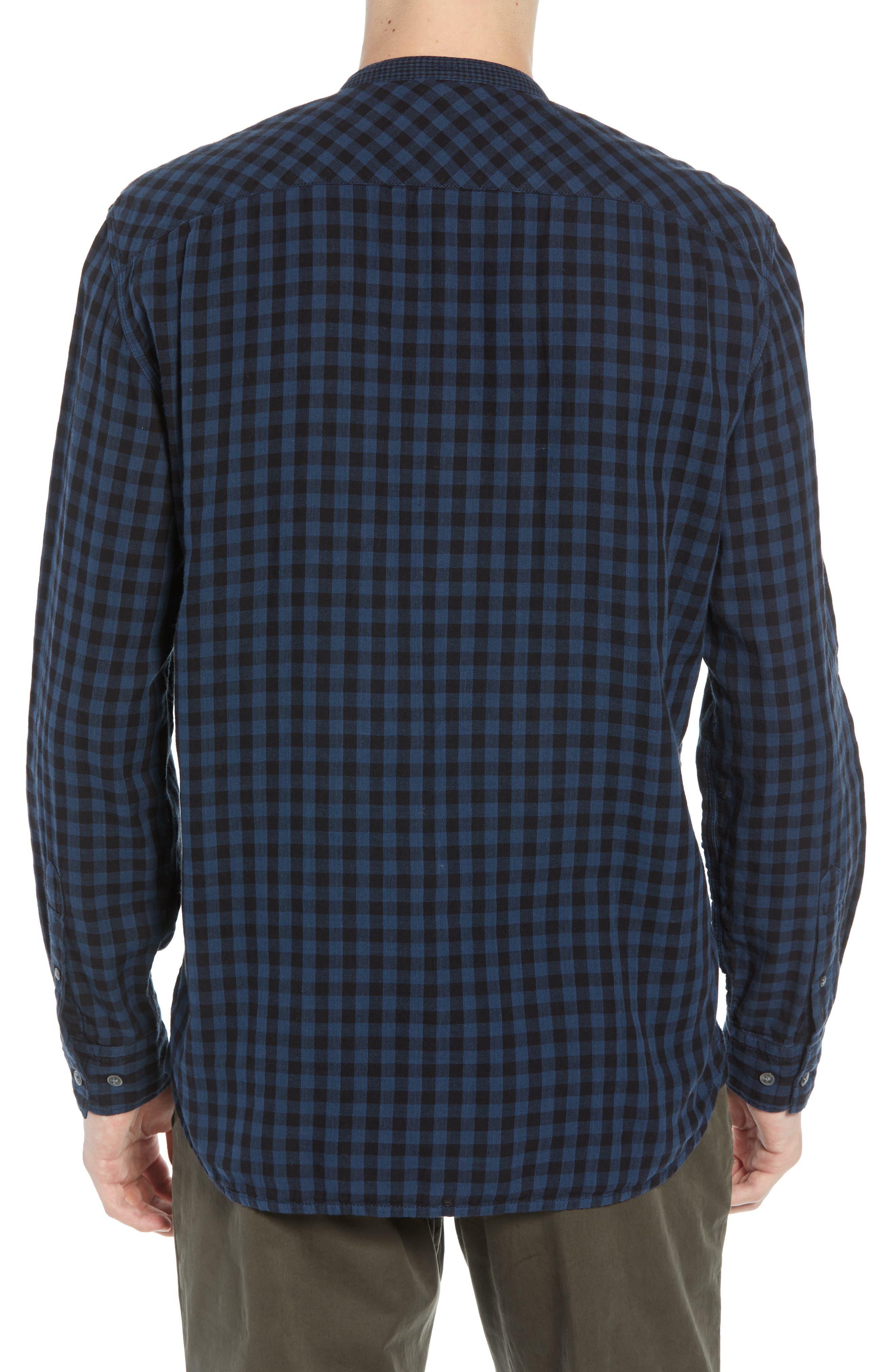 Double Gingham Shirt,                             Alternate thumbnail 3, color,                             BLACK IRIS