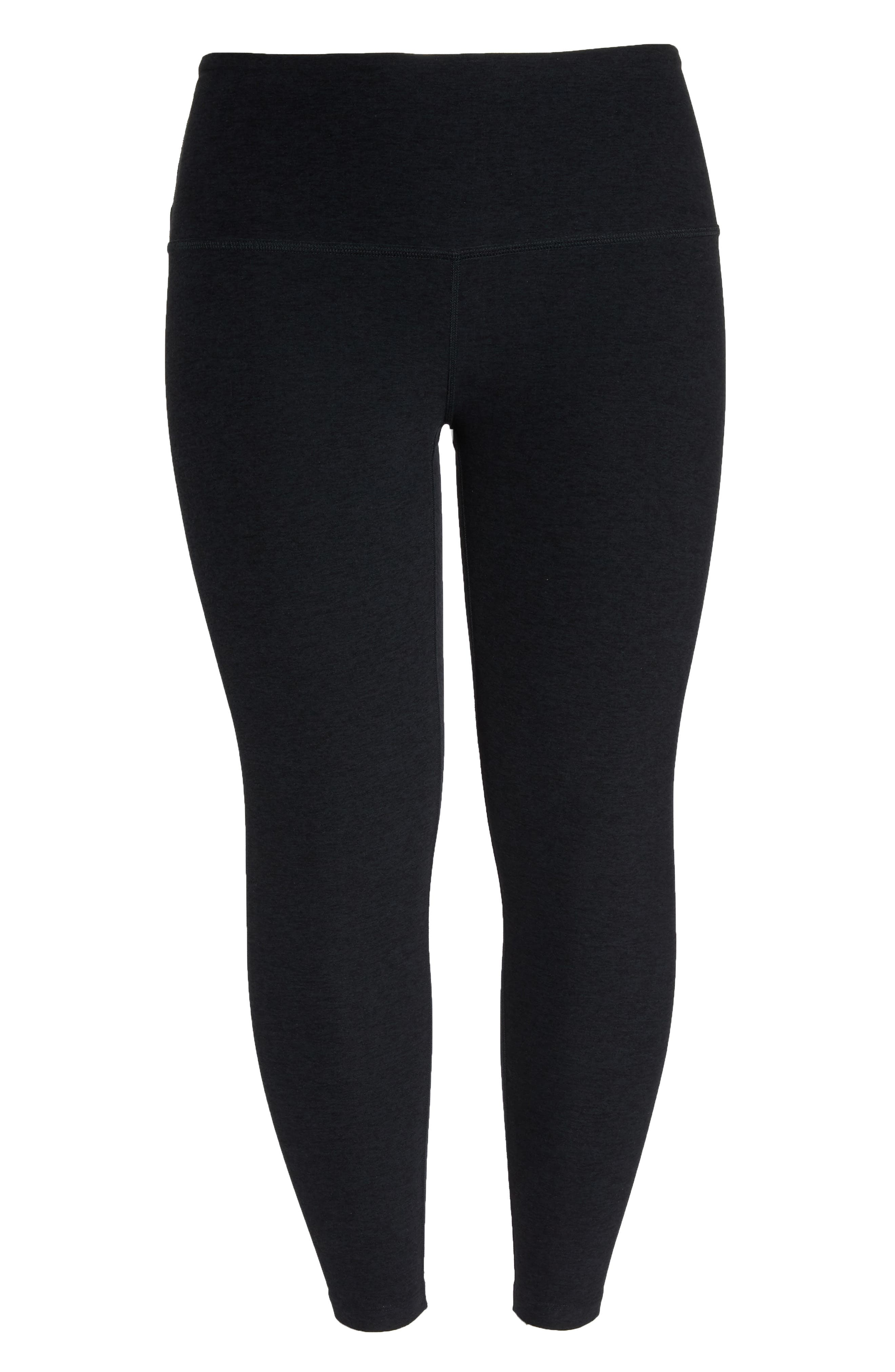High Waist Midi Leggings,                             Alternate thumbnail 7, color,                             DARKEST NIGHT