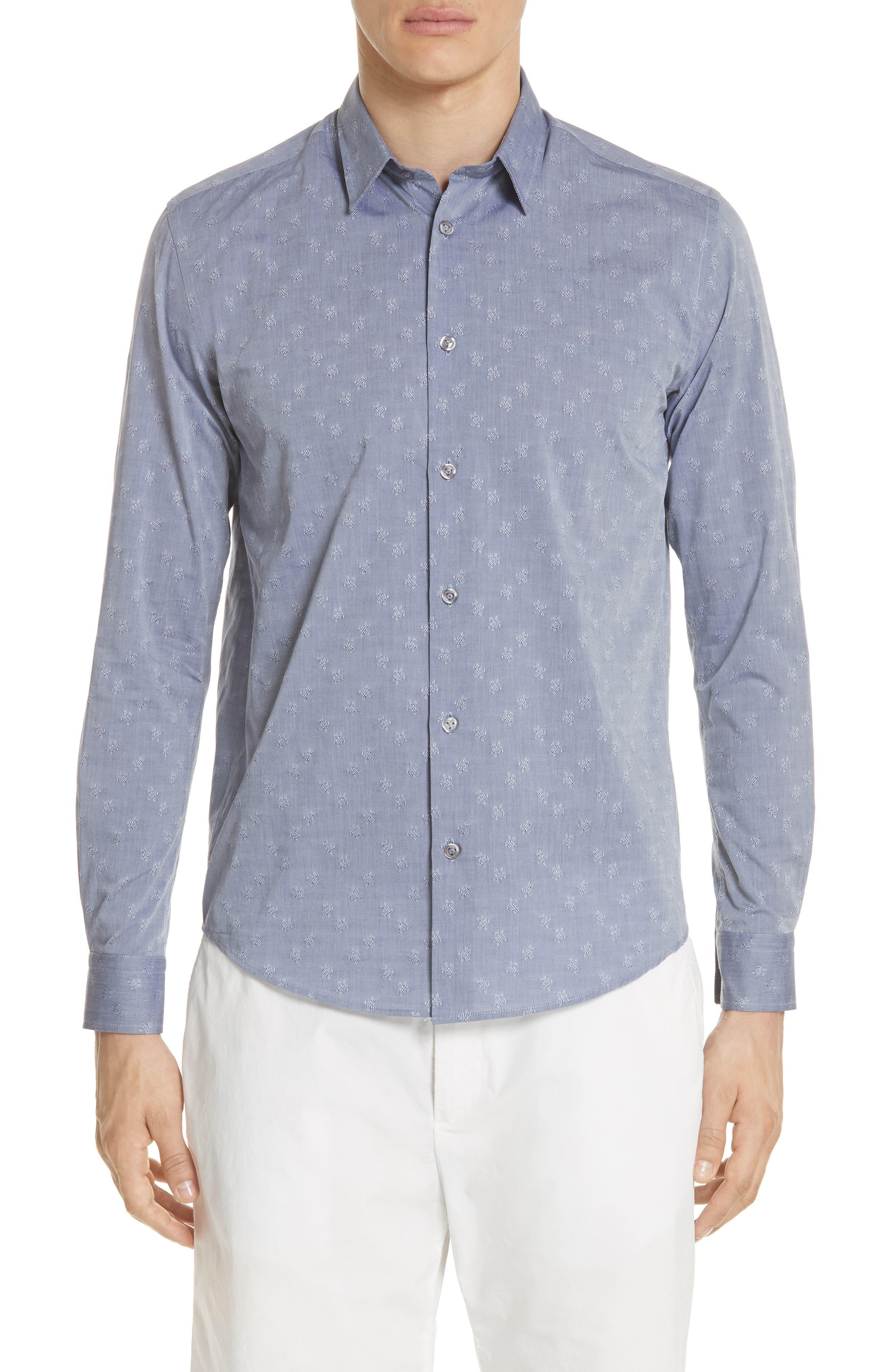 Turtle Jacquard Sport Shirt,                         Main,                         color, 401