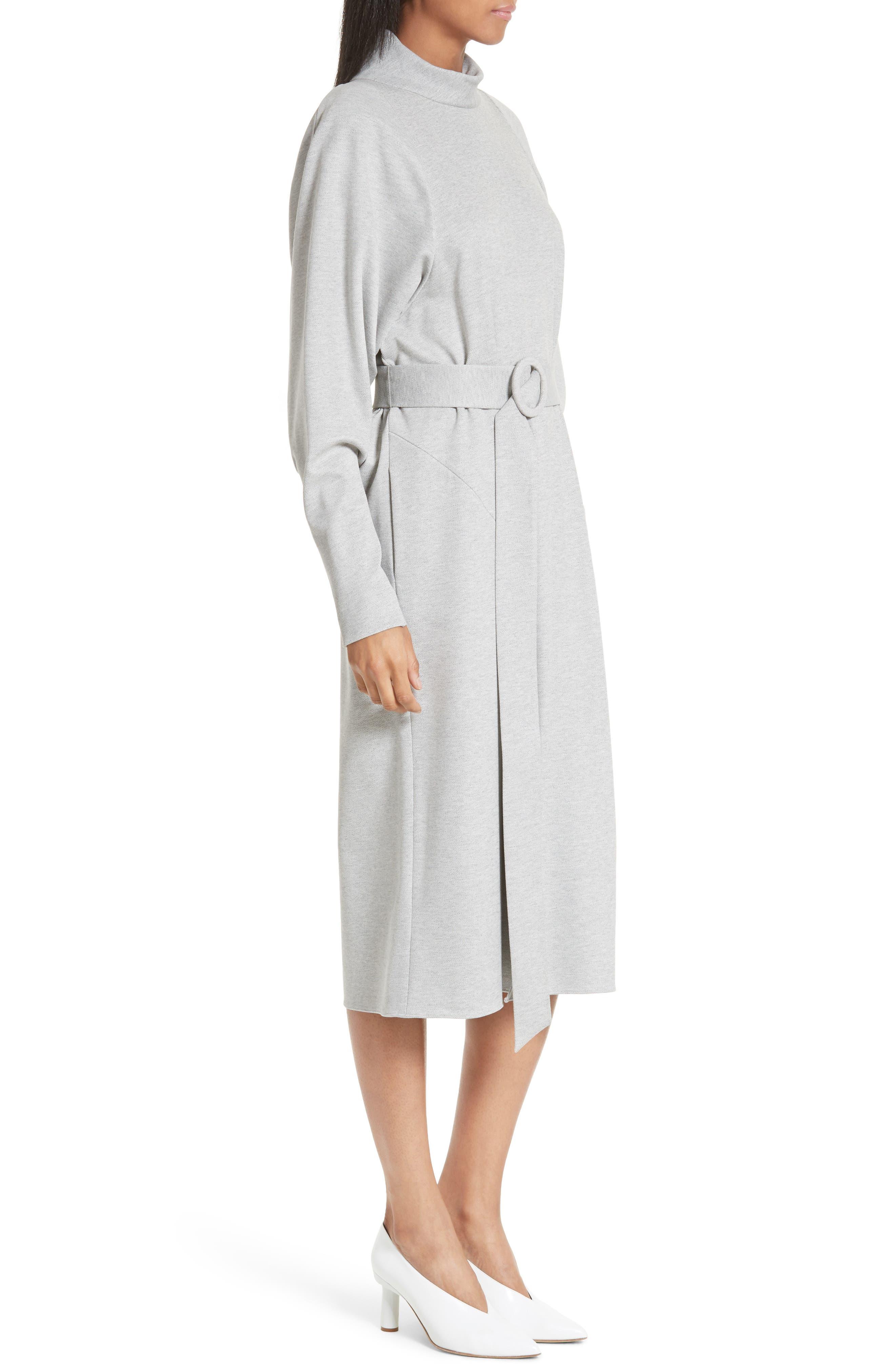 Dolman Sleeve Stretch Twill Midi Dress,                             Alternate thumbnail 3, color,                             020