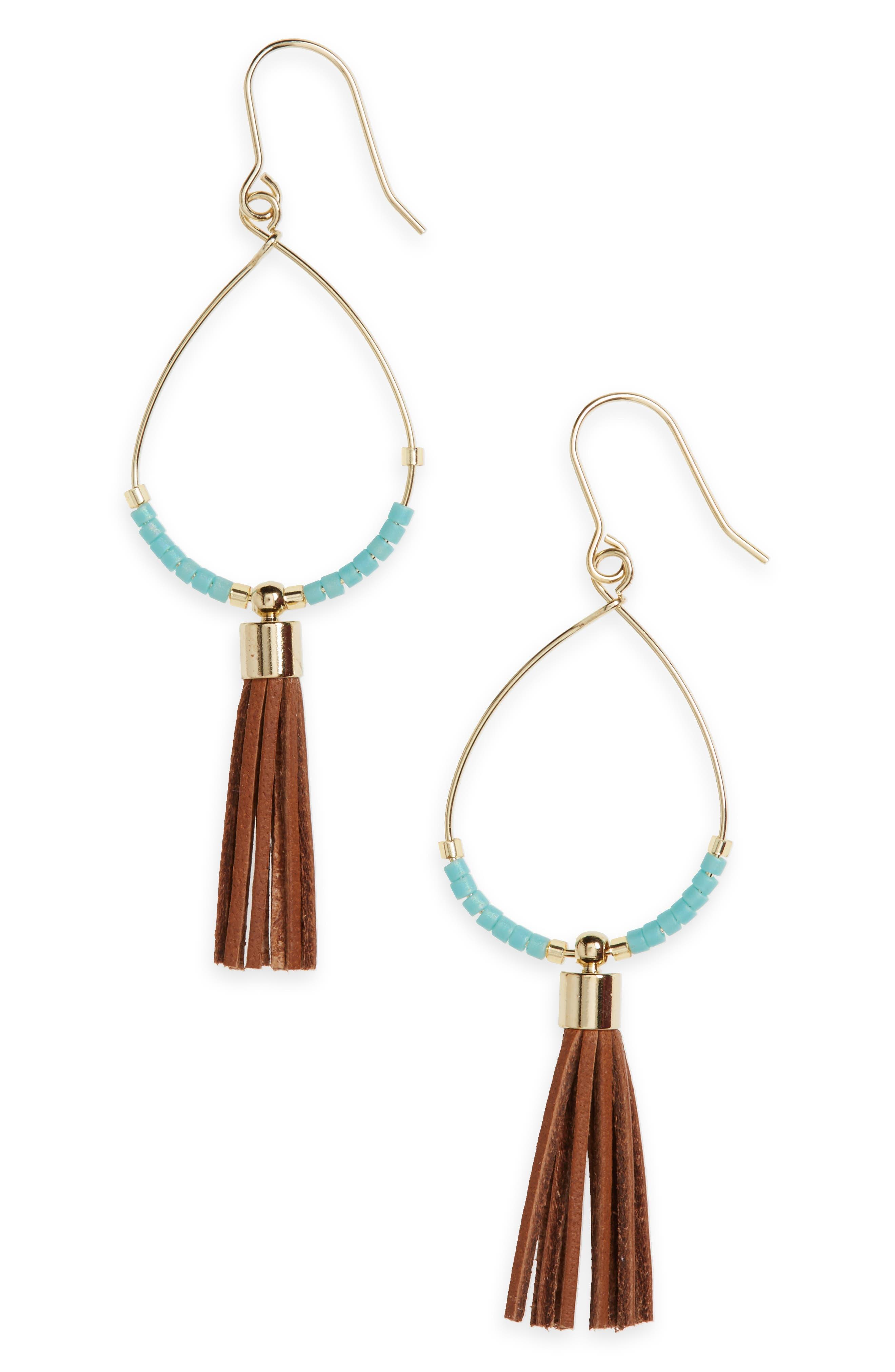Tassel Fringe Drop Earrings,                             Main thumbnail 1, color,                             400