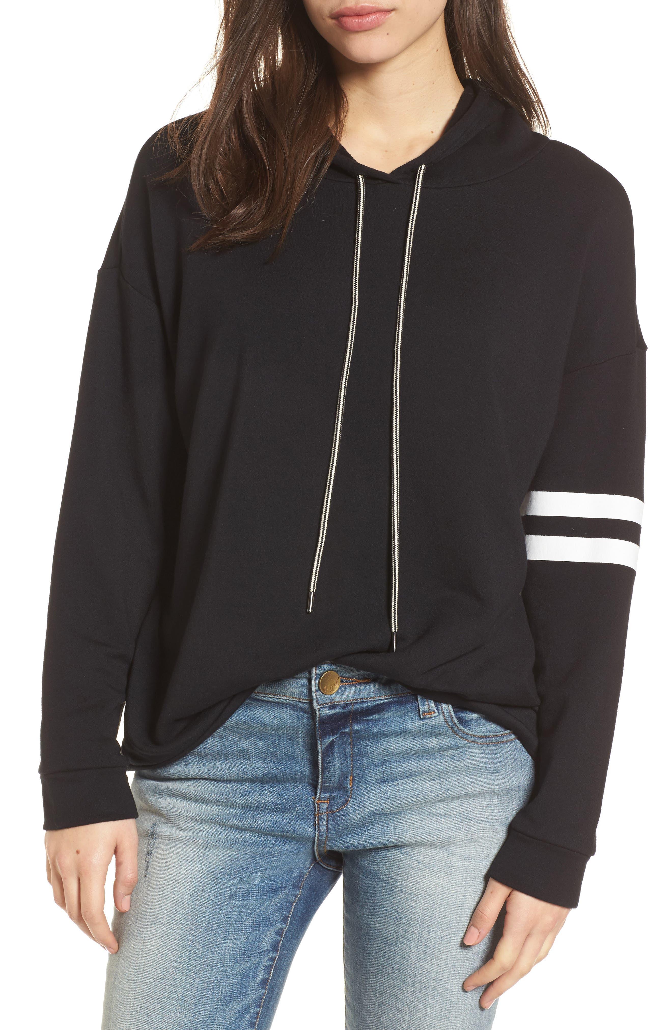 Stripe Sleeve Hoodie,                         Main,                         color,