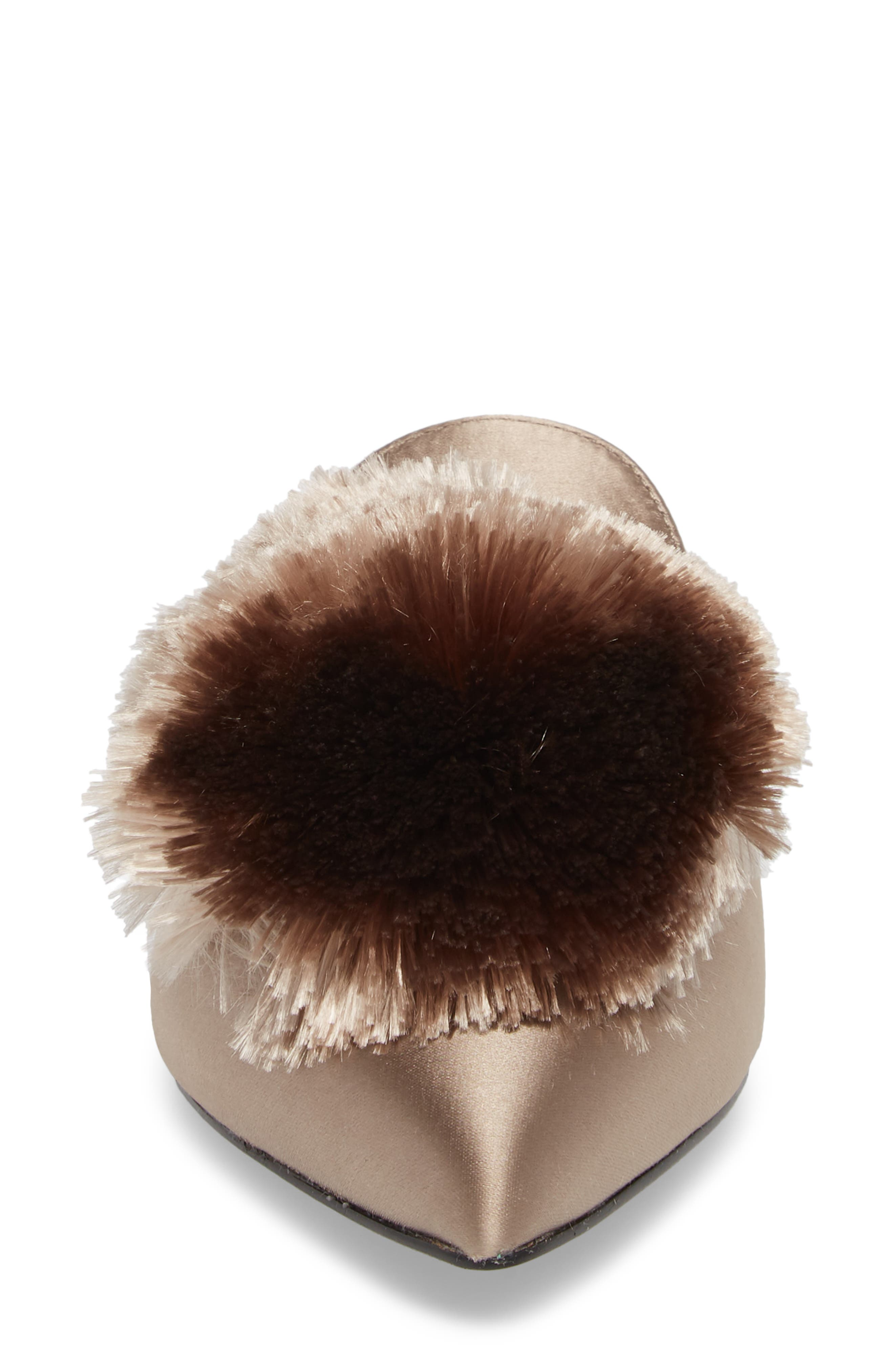 Wella Pompom Loafer Mule,                             Alternate thumbnail 4, color,                             TAUPE SATIN
