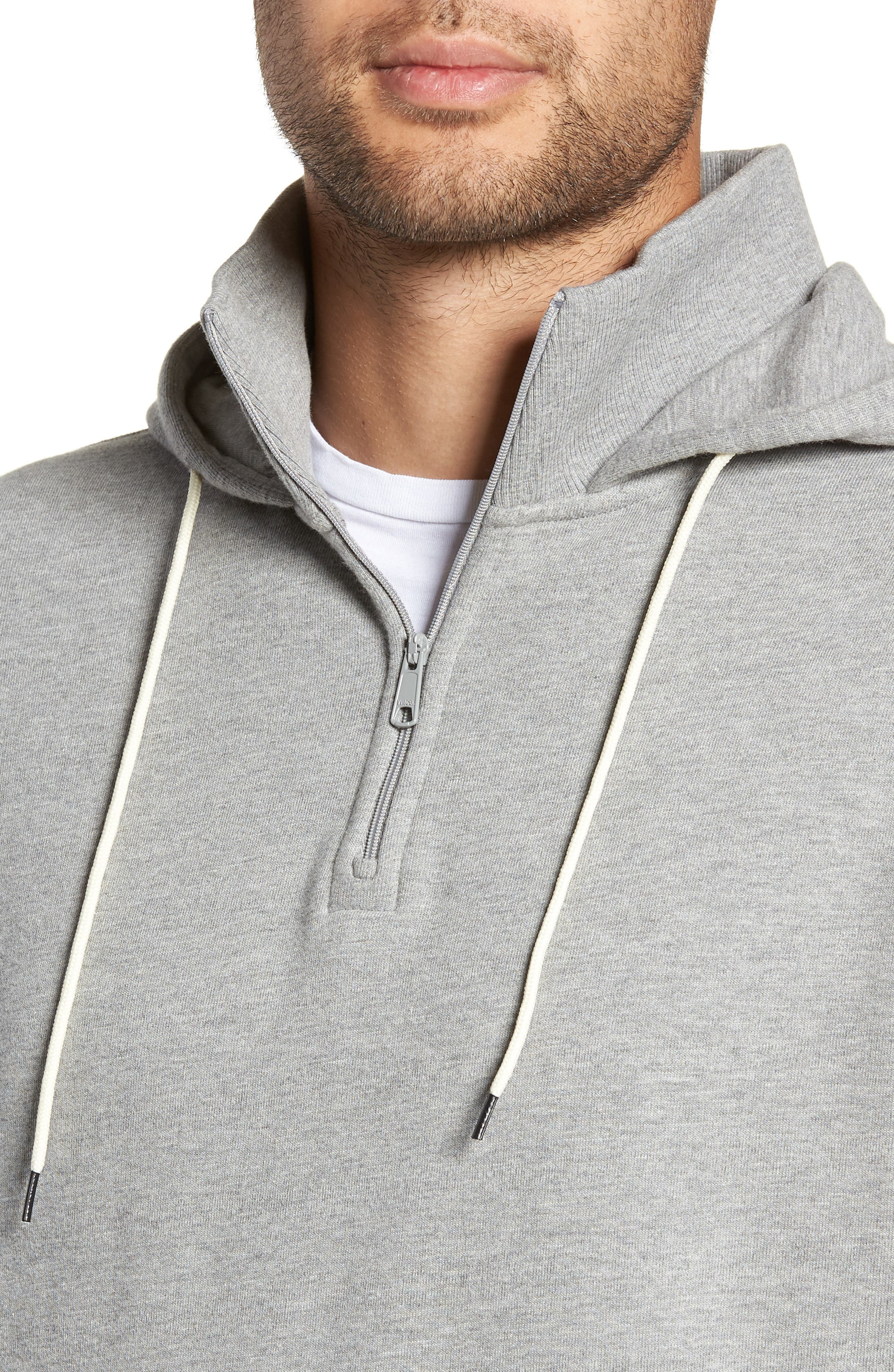 Regular Fit Half Zip Hoodie,                             Alternate thumbnail 4, color,                             H GREY