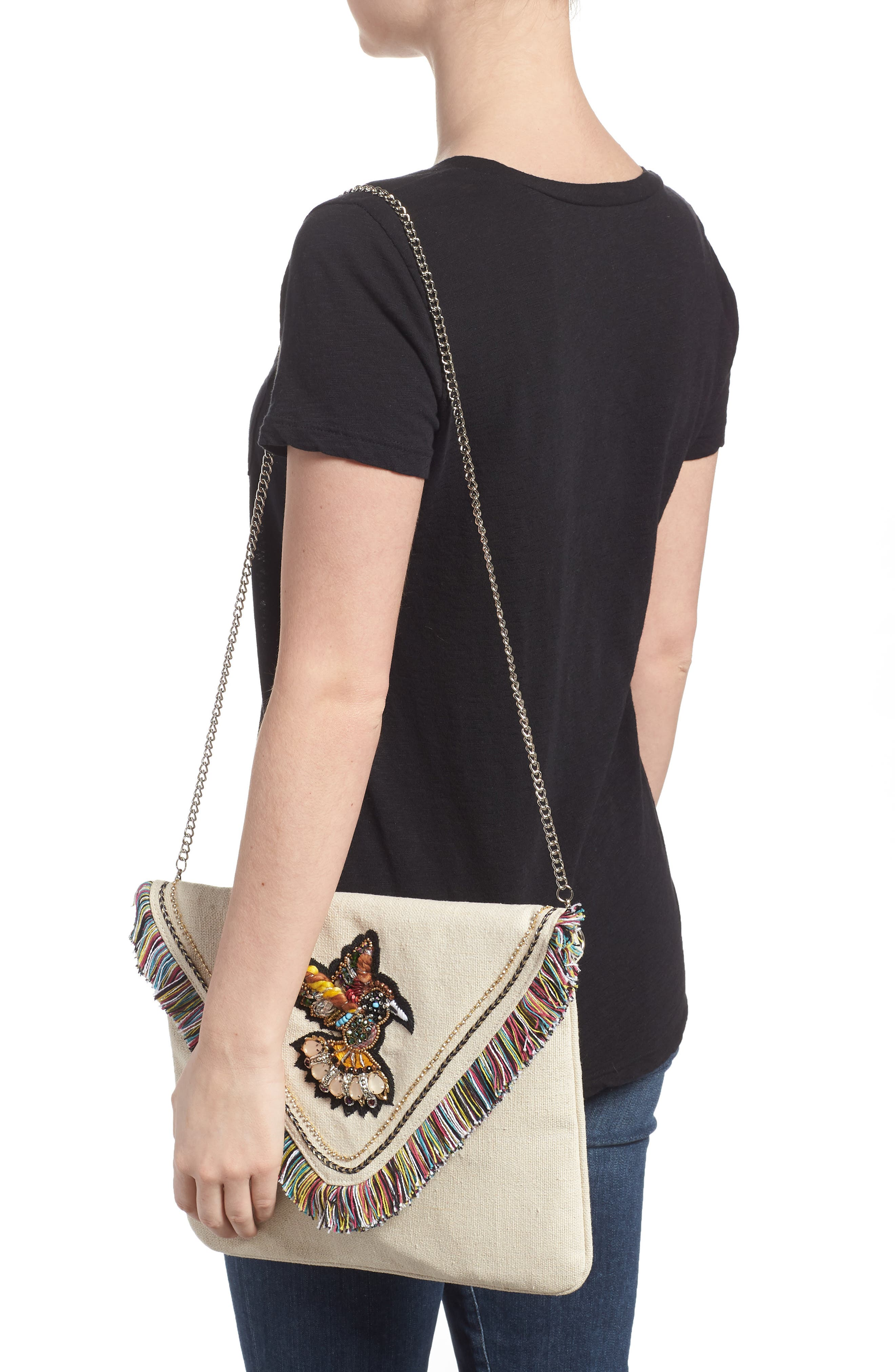 Bird Appliqué Oversize Envelope Clutch,                             Alternate thumbnail 2, color,                             250