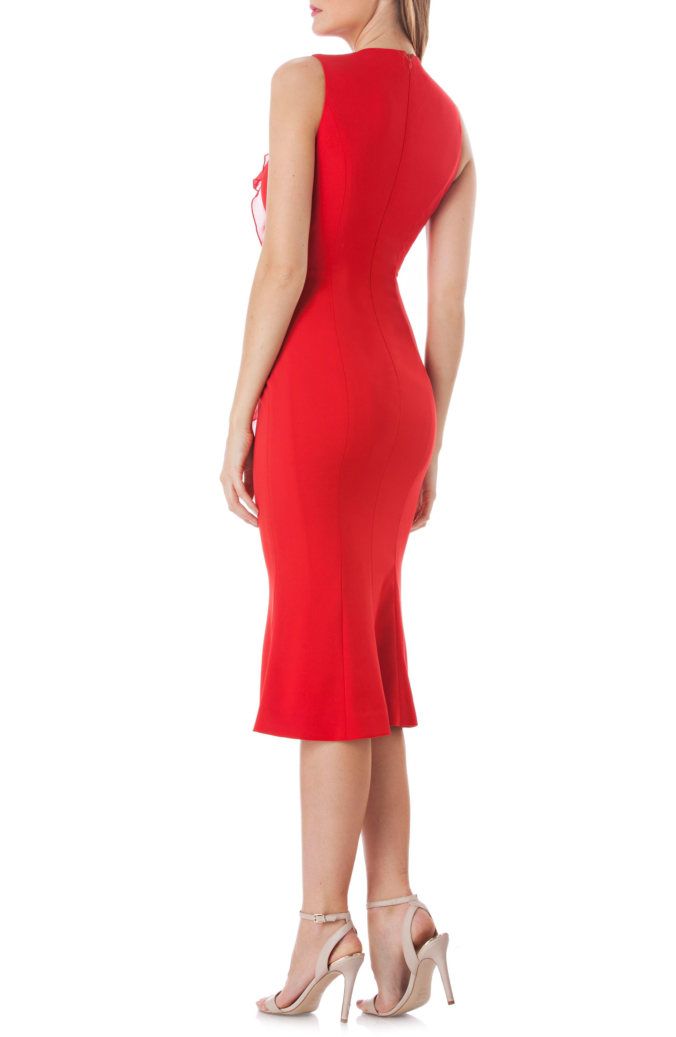 Vertical Ruffle Crepe Sheath Dress,                             Alternate thumbnail 2, color,                             RED