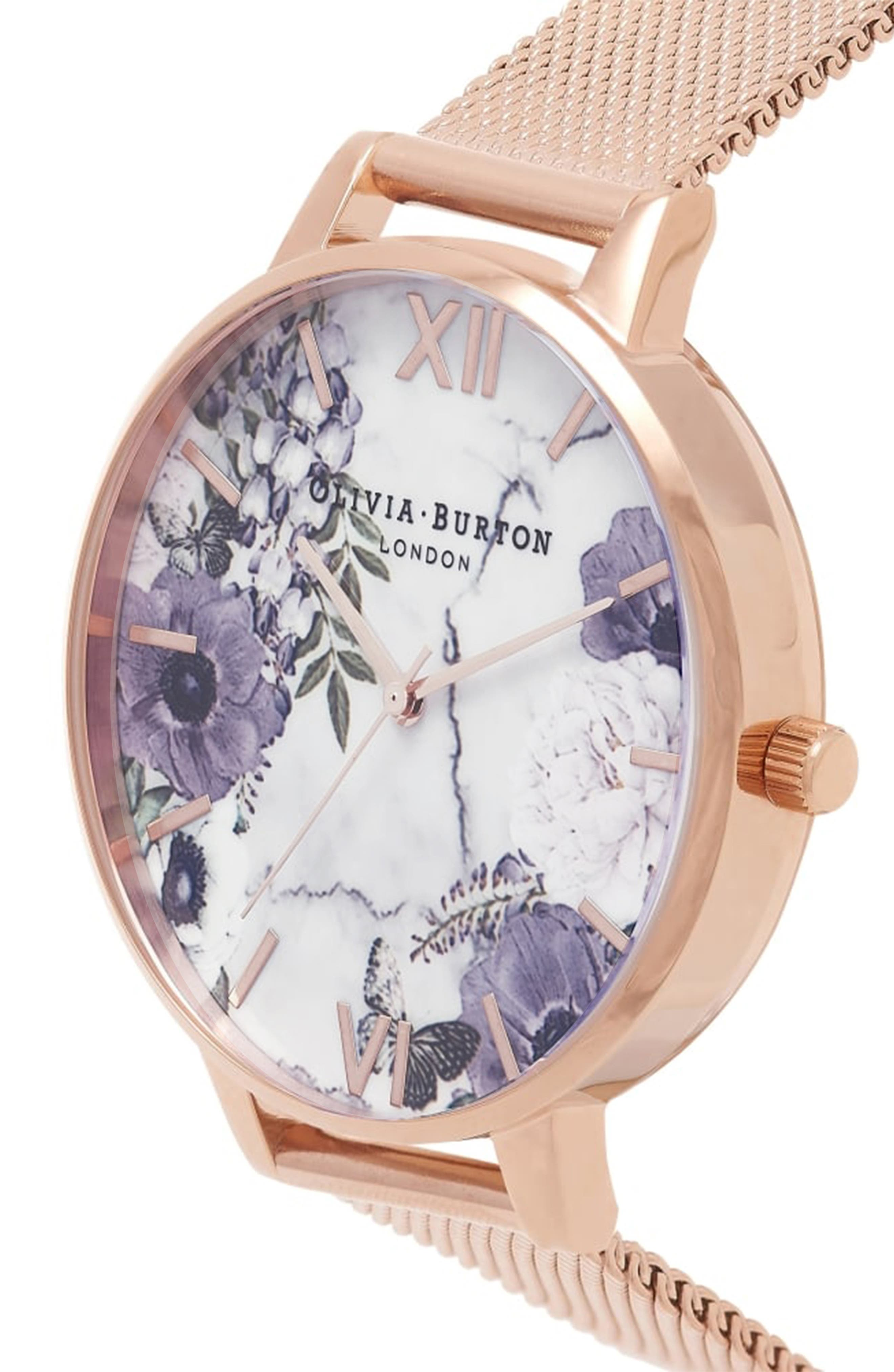 Marble Floral Mesh Strap Watch, 38mm,                             Alternate thumbnail 4, color,                             710