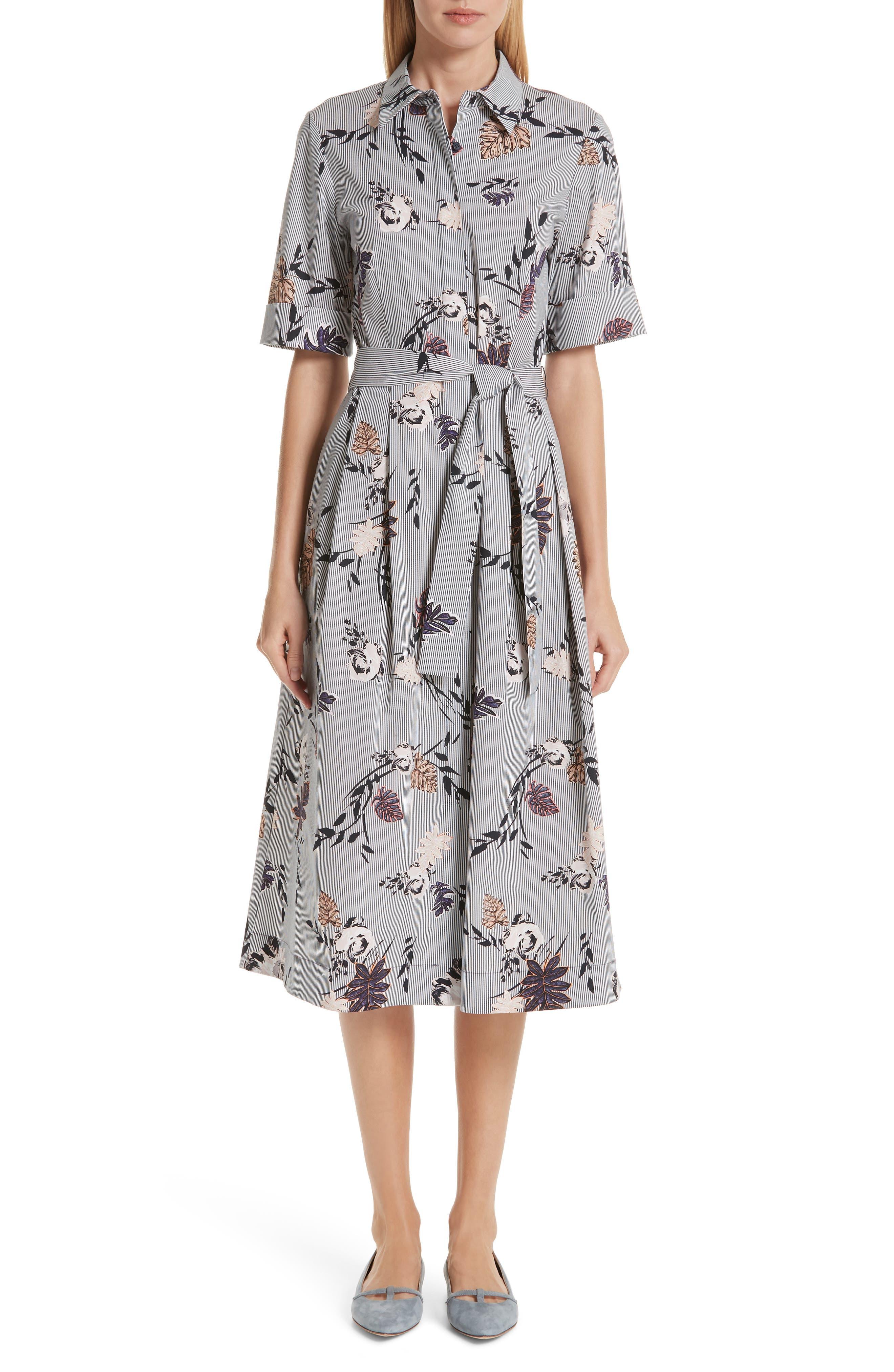 LAFAYETTE 148 NEW YORK Eleni Floral Stripe Shirtdress, Main, color, INK MULTI