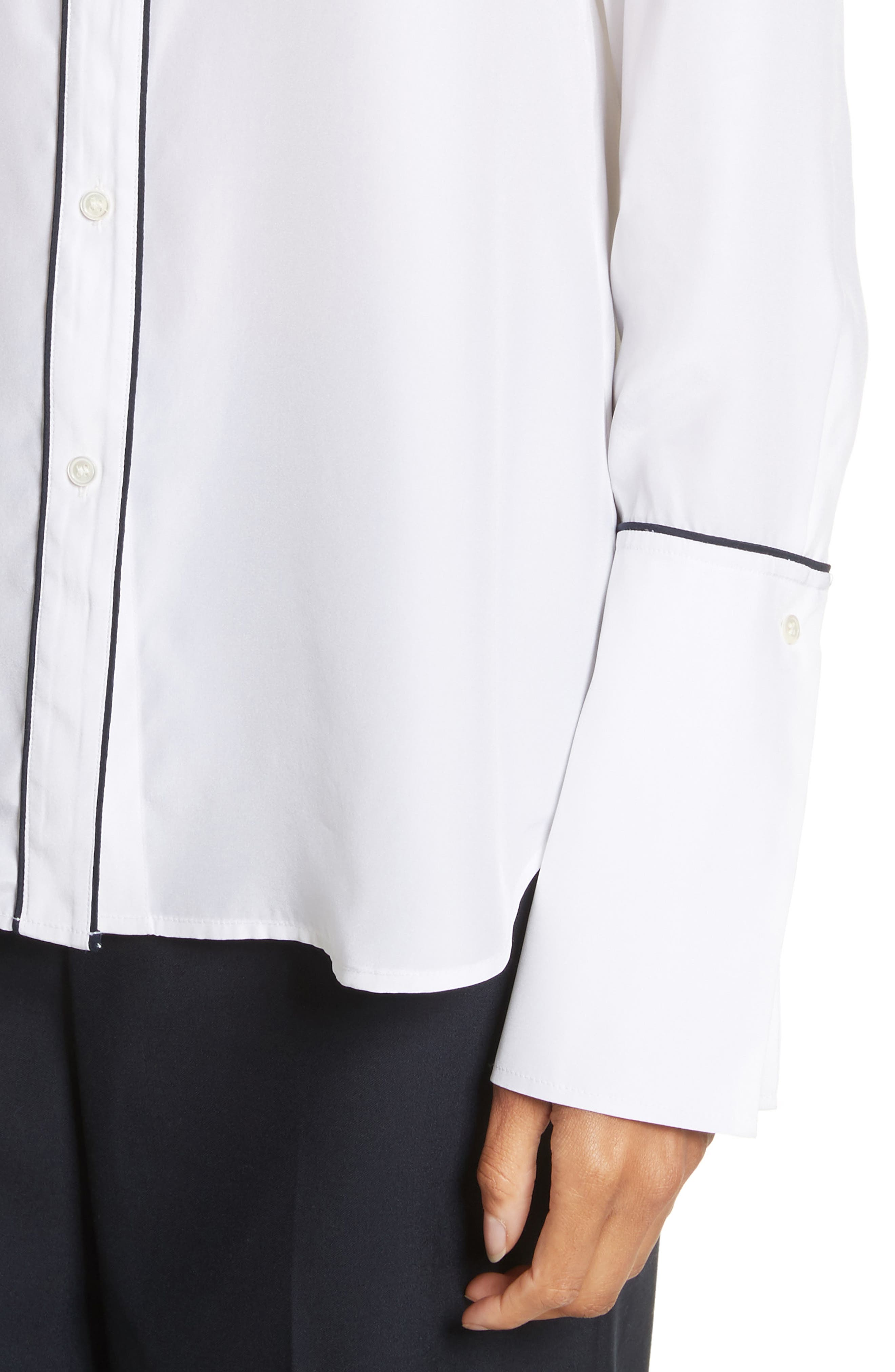 Long Cuff Silk Shirt,                             Alternate thumbnail 4, color,                             120