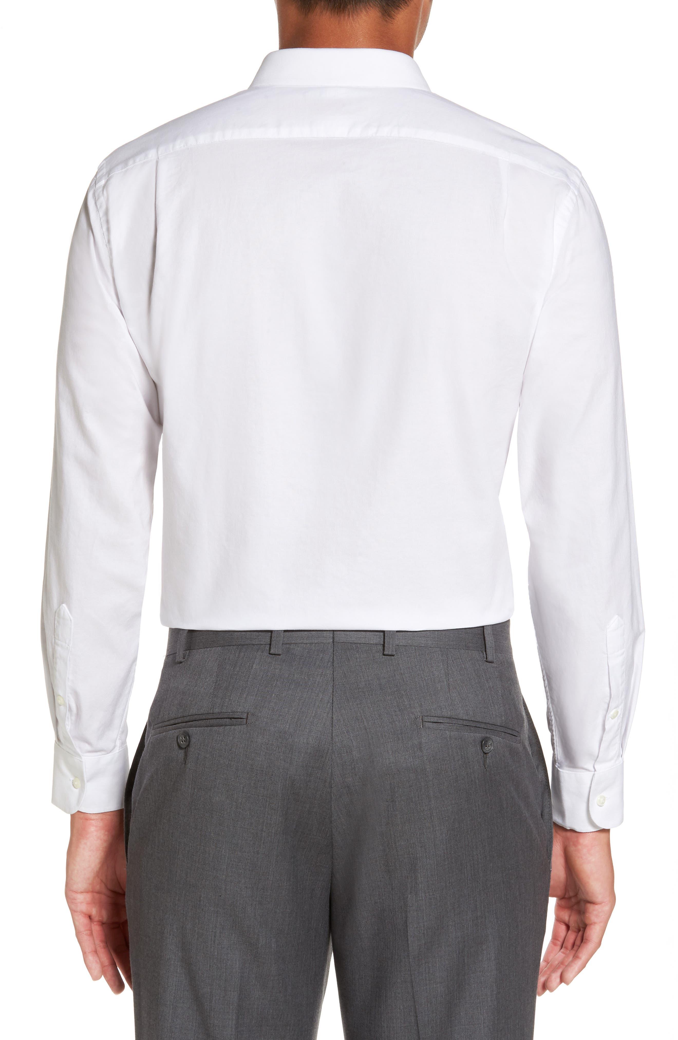 Trim Fit Solid Oxford Dress Shirt,                             Alternate thumbnail 2, color,                             100
