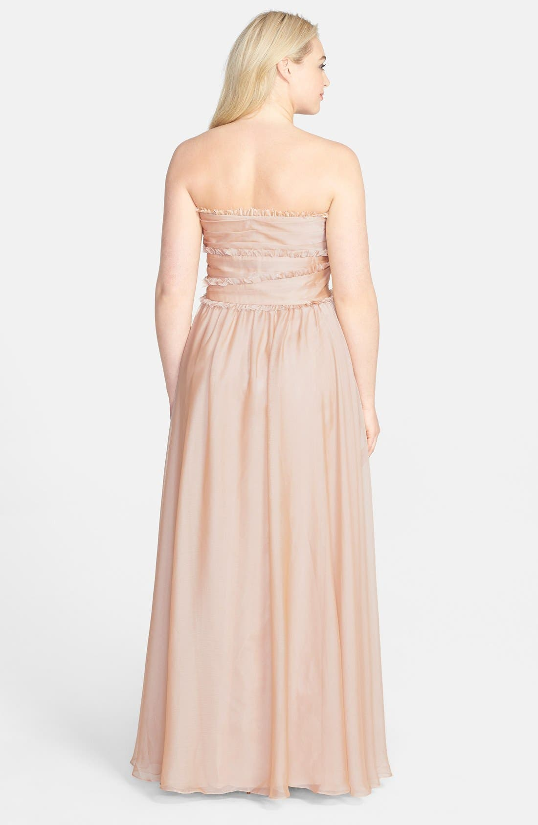 ML Monique Lhuillier Bridesmaids Strapless Chiffon Gown,                             Alternate thumbnail 23, color,