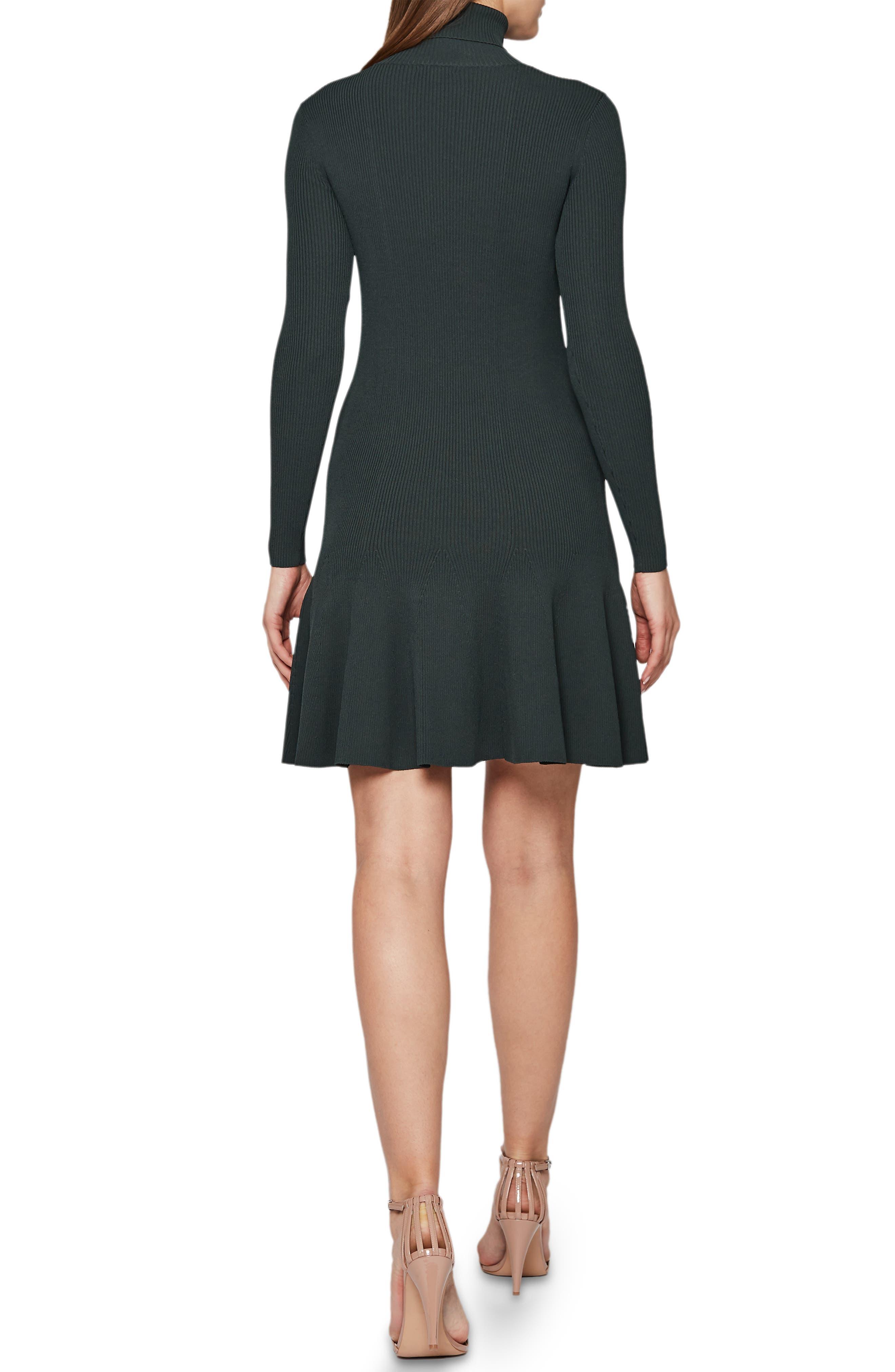 REISS,                             Mimi Turtleneck Sweater Dress,                             Alternate thumbnail 2, color,                             GREEN