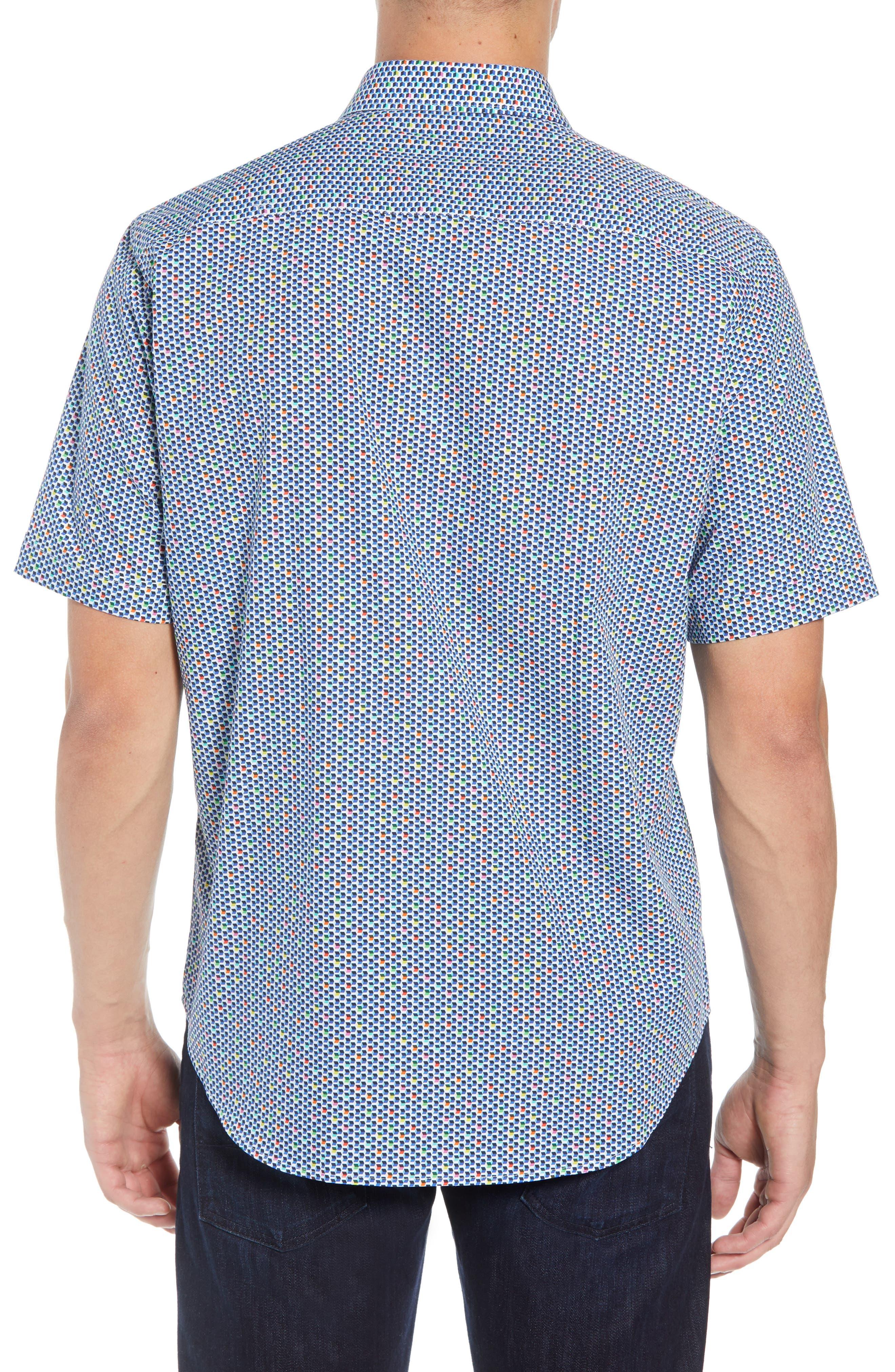 Classic Fit Print Sport Shirt,                             Alternate thumbnail 3, color,                             601