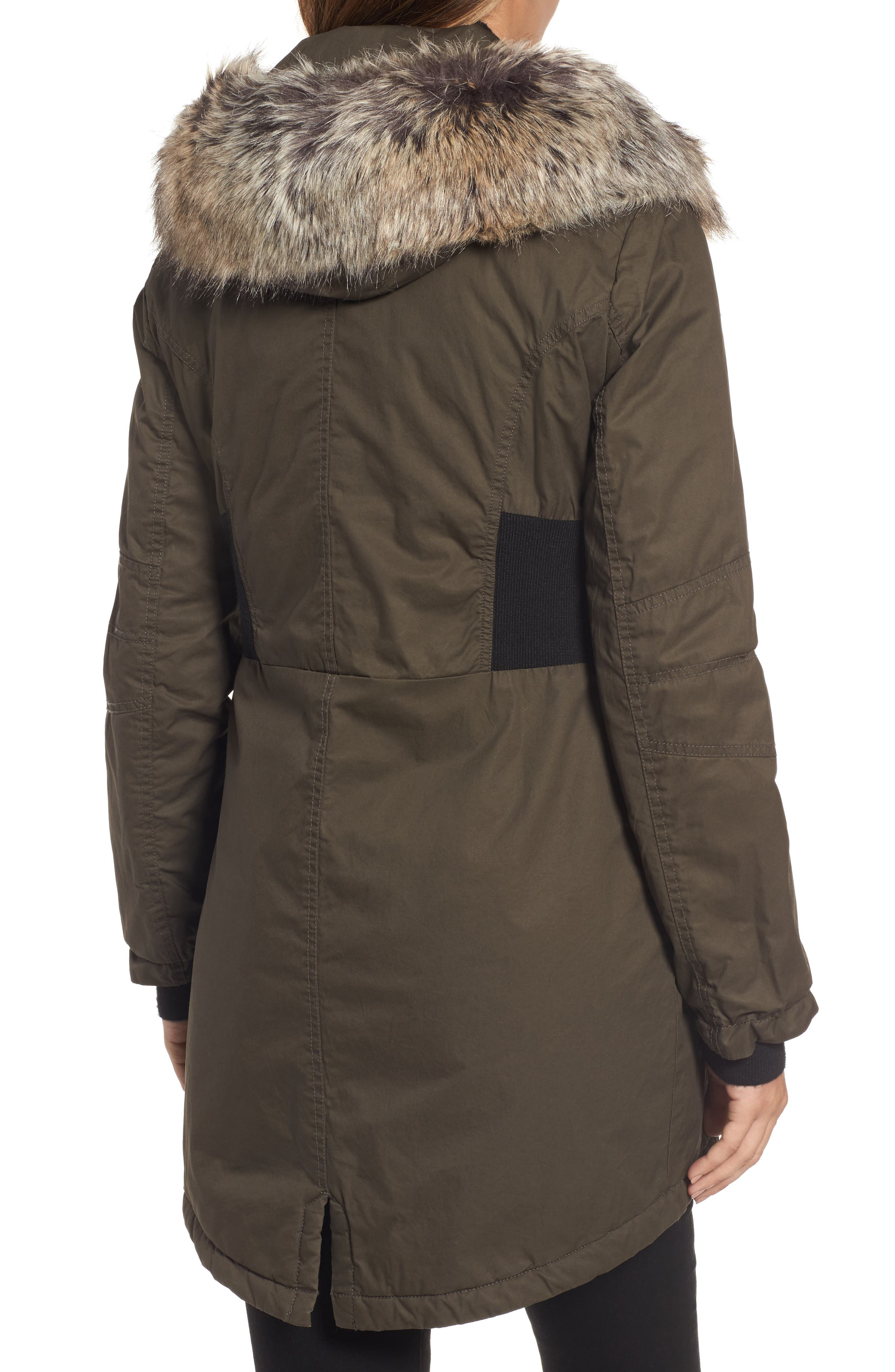 Mixed Media Parka with Faux Fur Trim Hood,                             Alternate thumbnail 6, color,