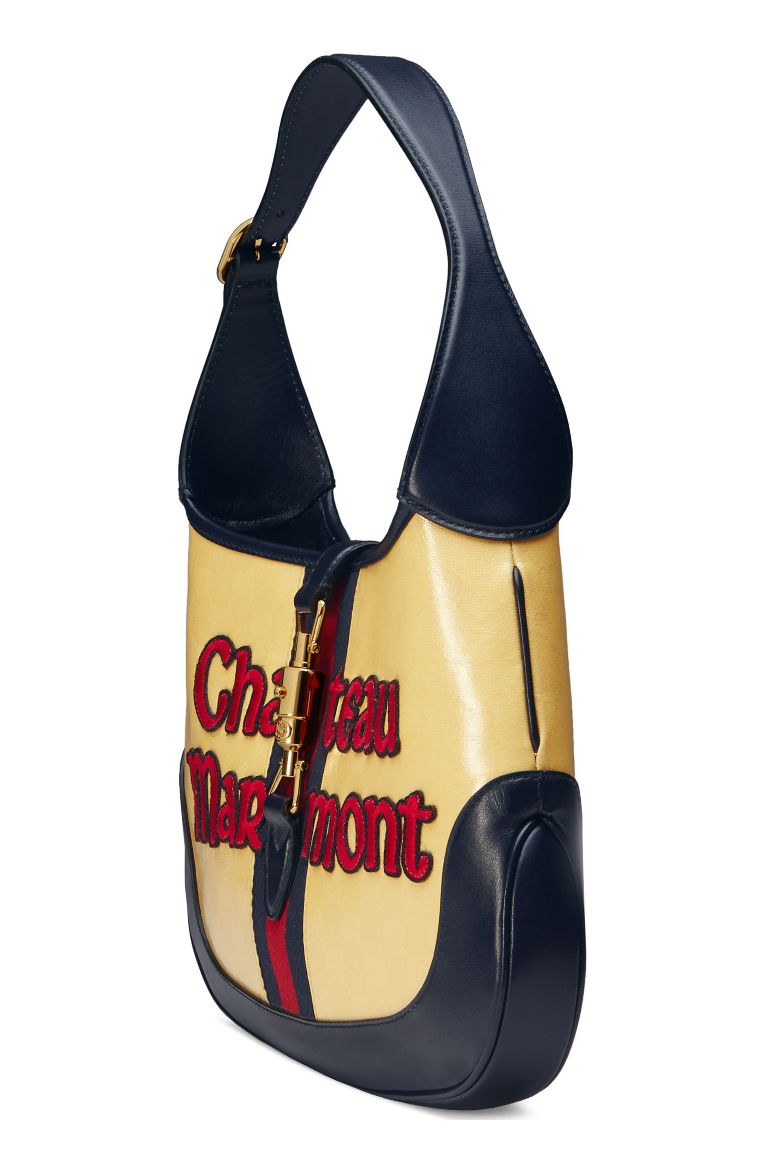 Medium Jackie Chateau Marmont GG Hobo,                             Alternate thumbnail 4, color,                             STRAW YELLOW/ BLU/ RED