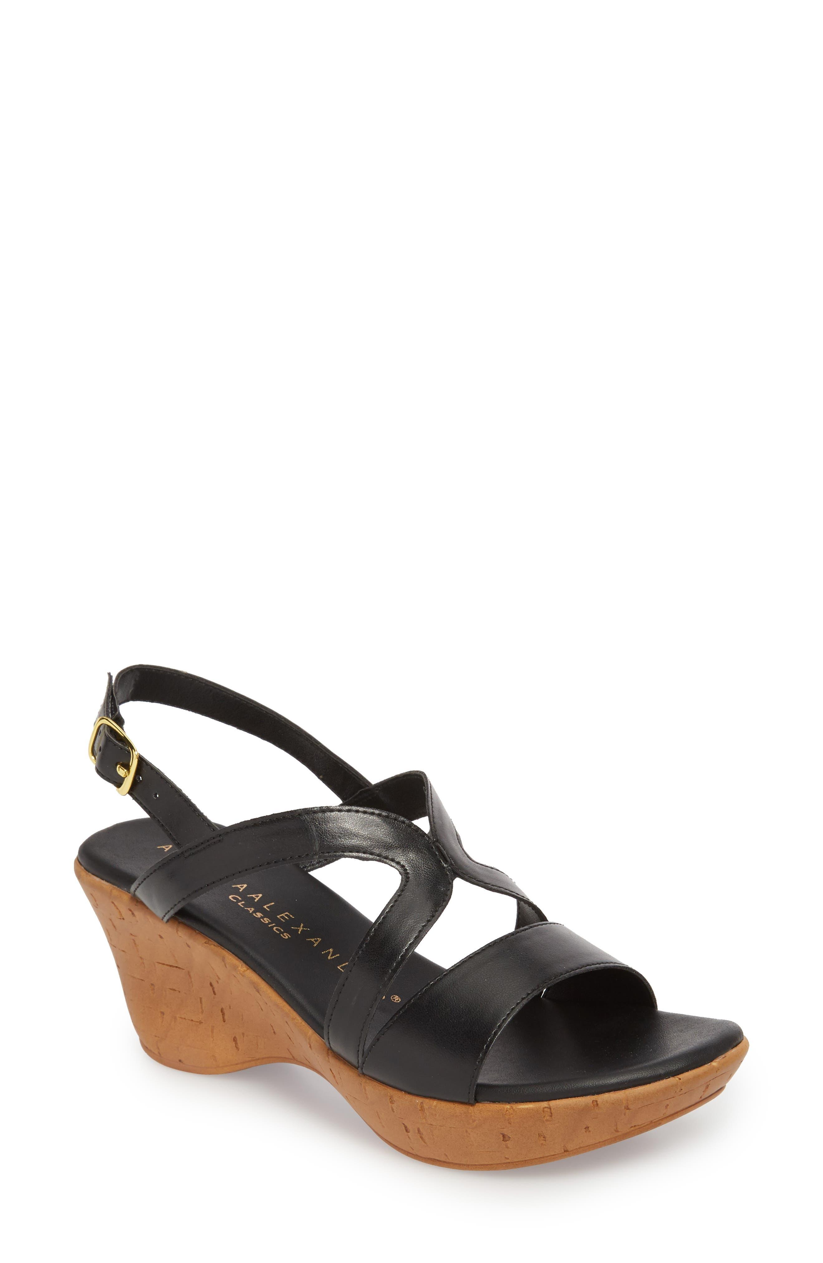 Athena Alexander Pomade Wedge Sandal, Black