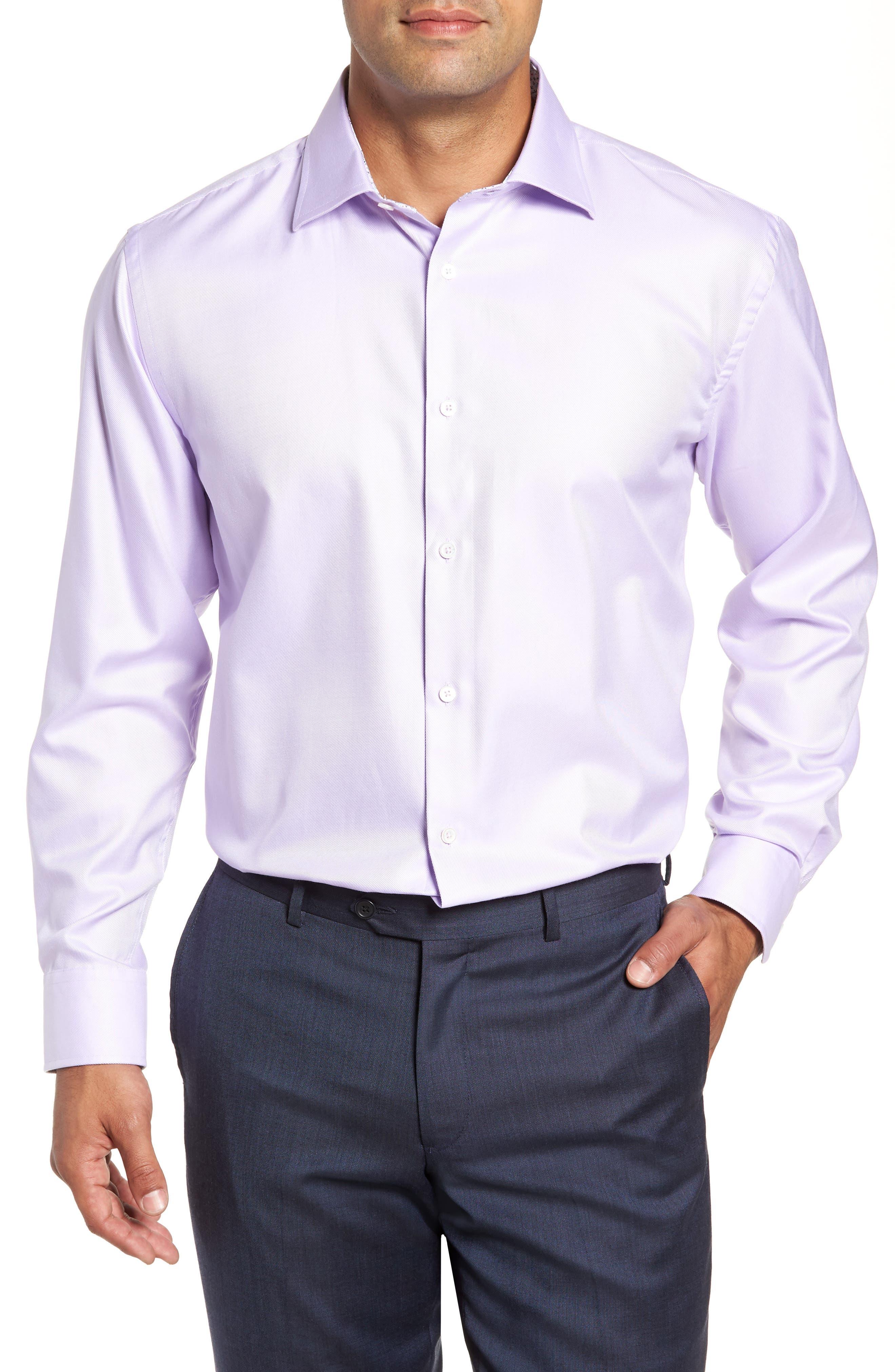 men's bugatchi trim fit solid dress shirt, size 18 - purple
