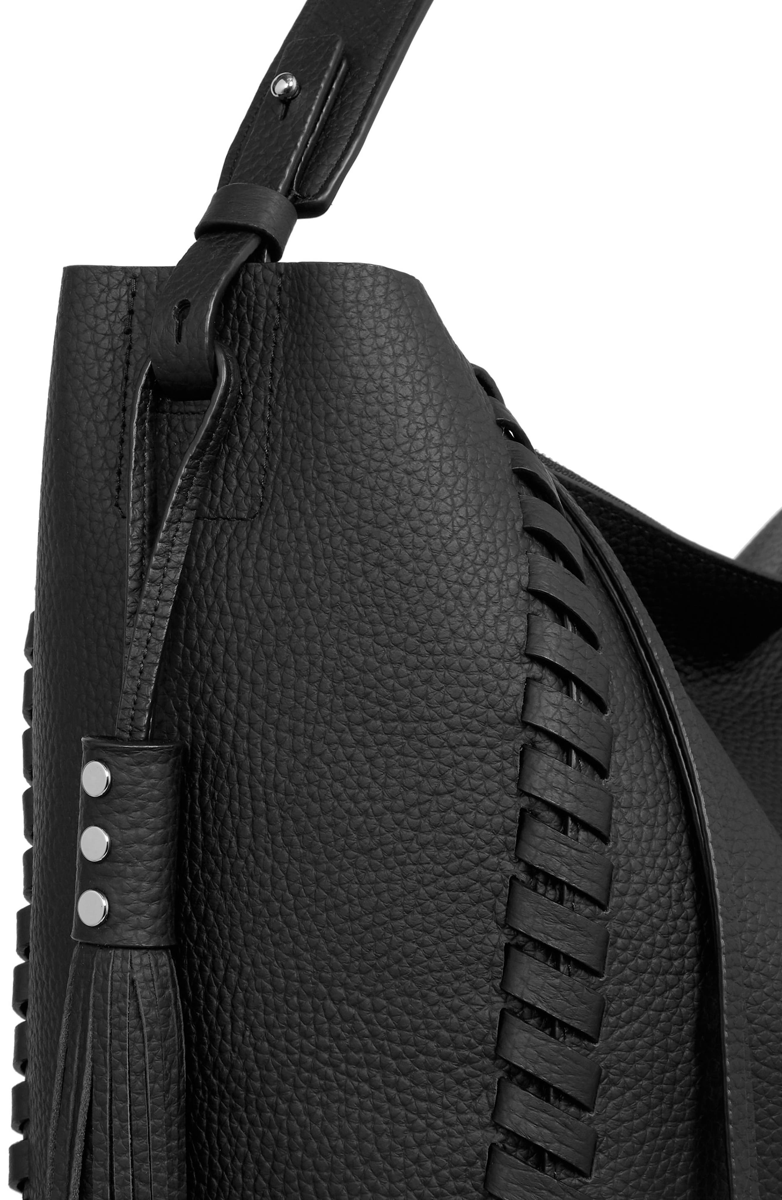 Kepi East/West Leather Tote,                             Alternate thumbnail 3, color,                             BLACK