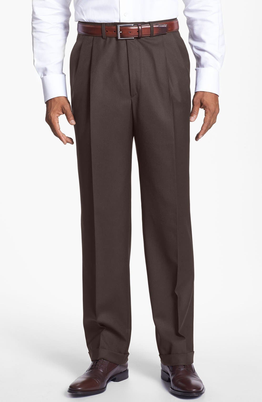 'Luxury Serge' Double Pleated Wool Trousers,                         Main,                         color, ESPRESSO