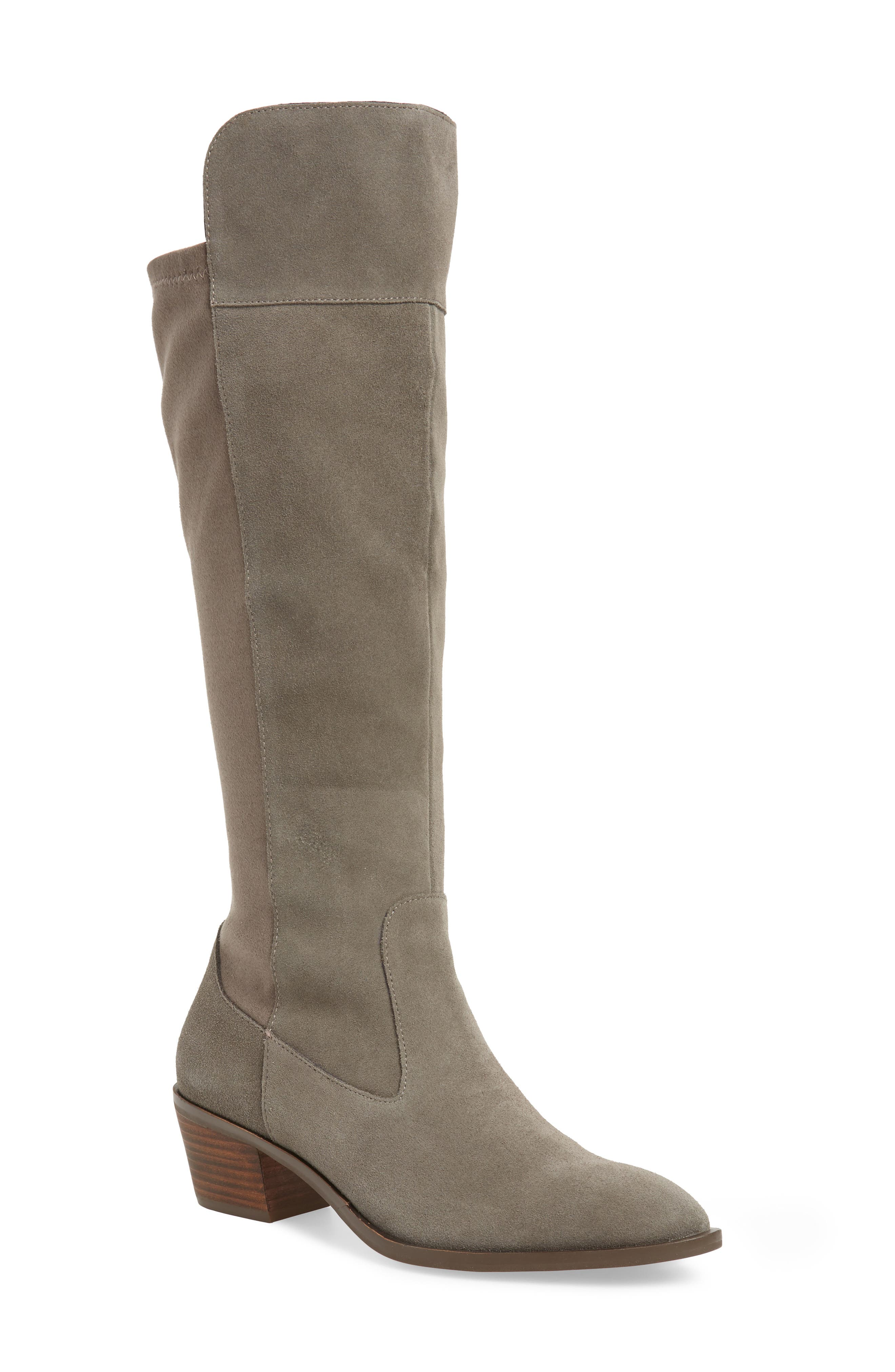 SOLE SOCIETY Noamie Knee High Boot, Main, color, LONDON RAIN SUEDE