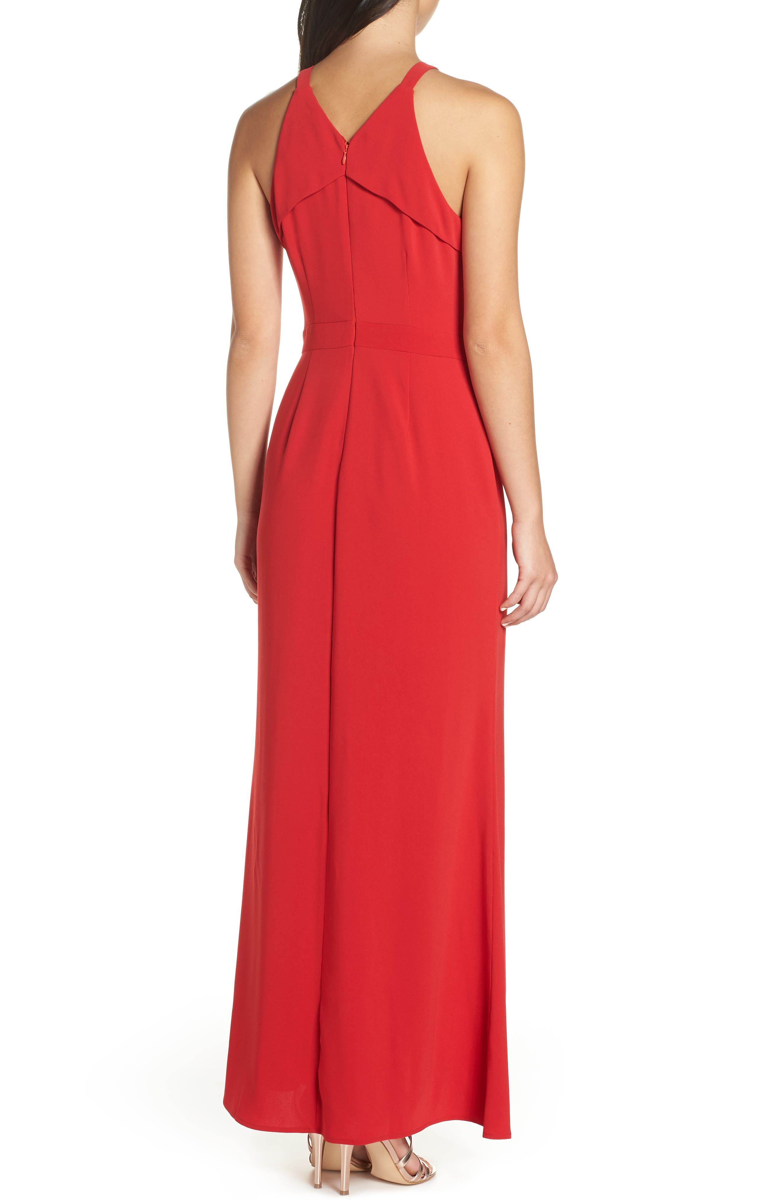HARLYN,                             Keyhole Bodice Gown,                             Alternate thumbnail 2, color,                             RED