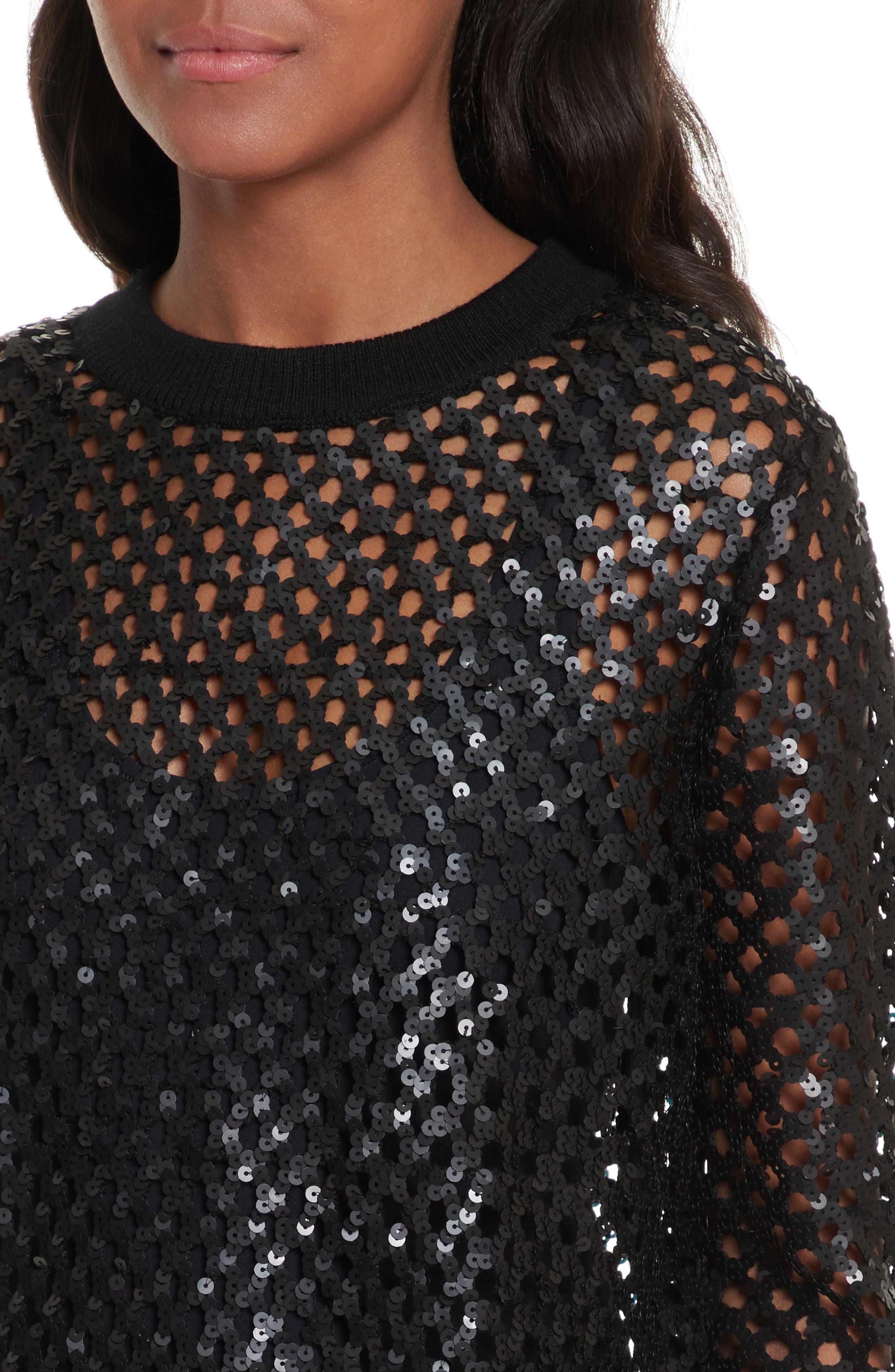 Lansing Sequin Mesh Sweater,                             Alternate thumbnail 4, color,                             001