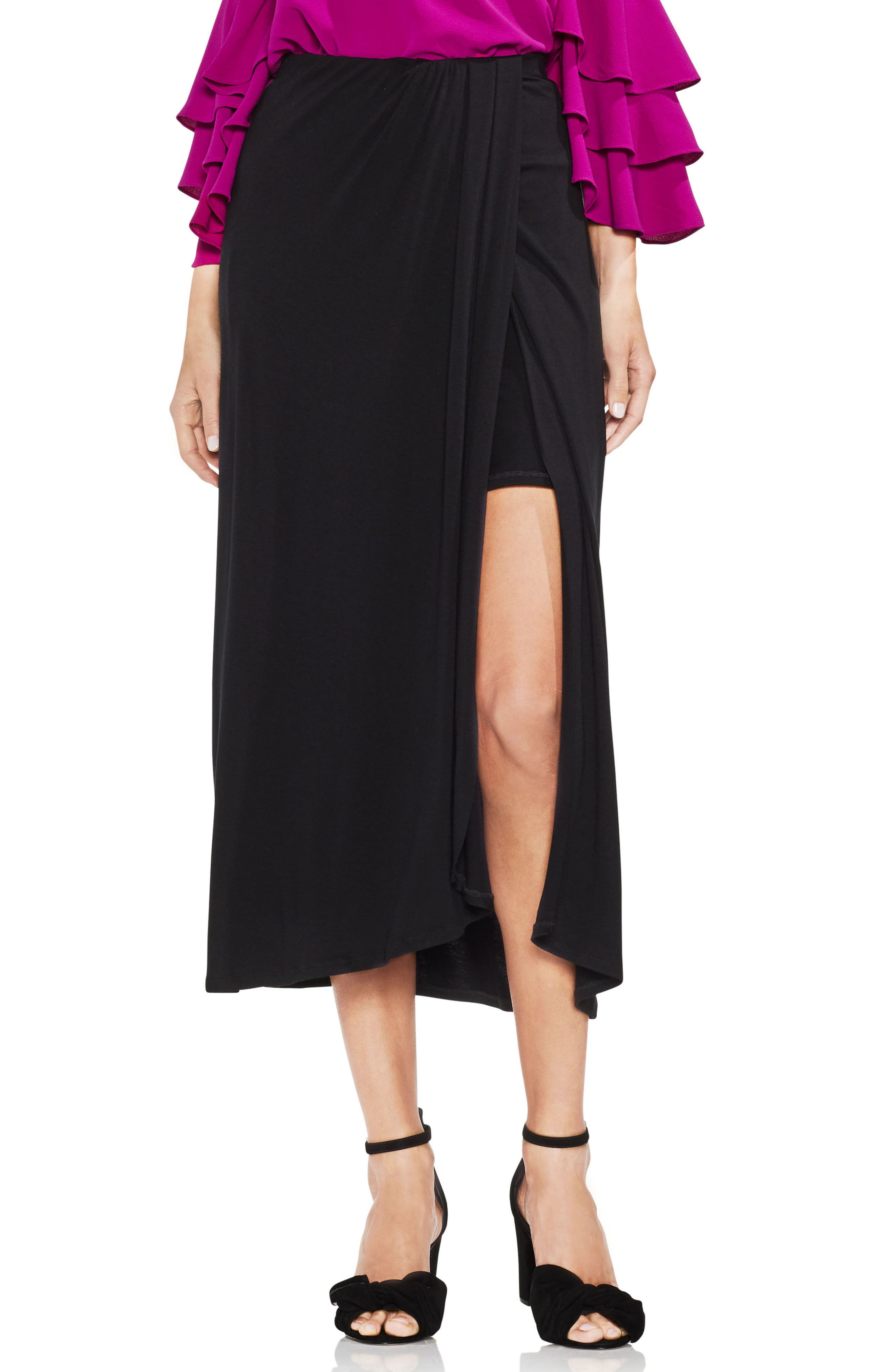Twist Tie Front Maxi Skirt,                             Main thumbnail 1, color,                             001