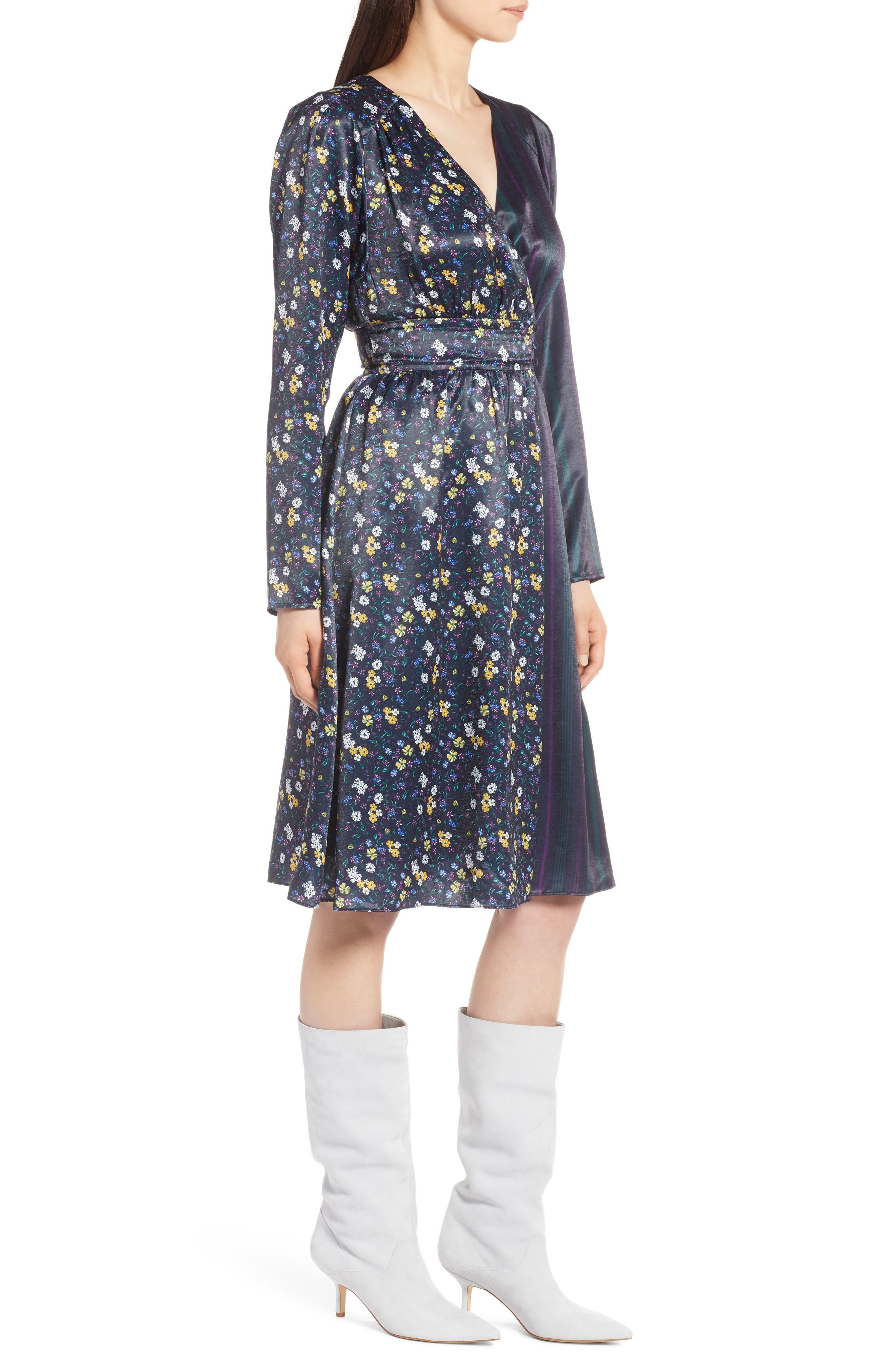 Print Satin Dress,                             Alternate thumbnail 3, color,                             410